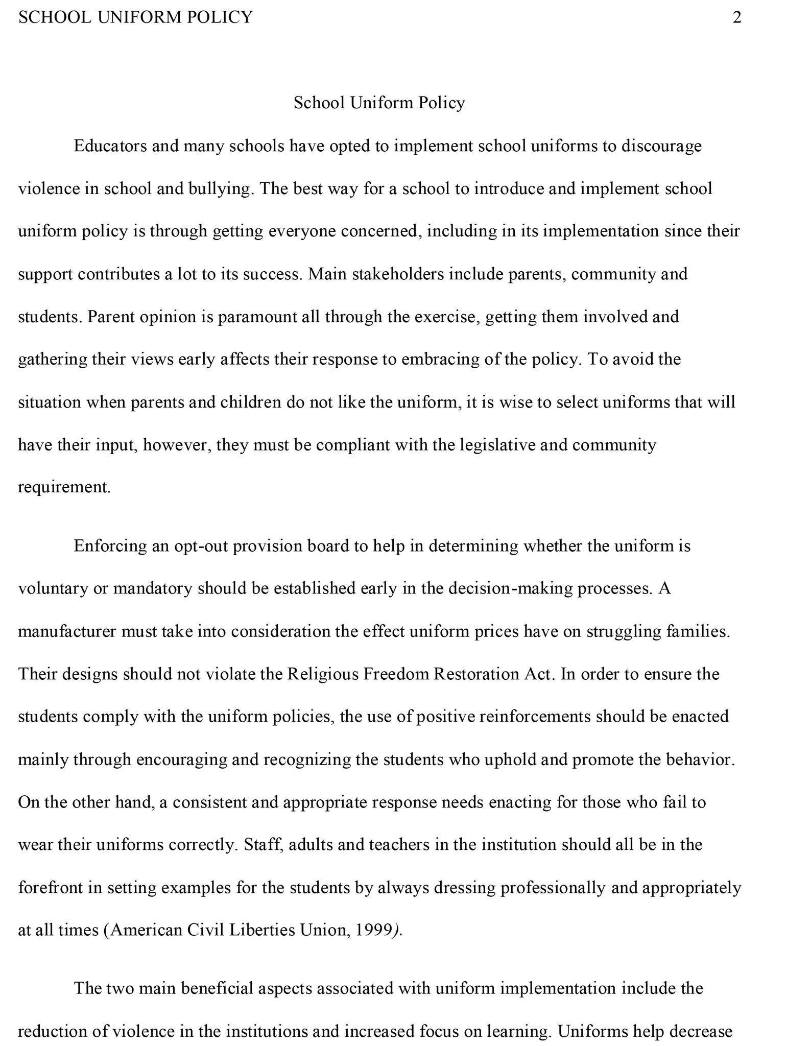 002 Essay Example School Sample Impressive Uniforms Against Conclusion Outline Full