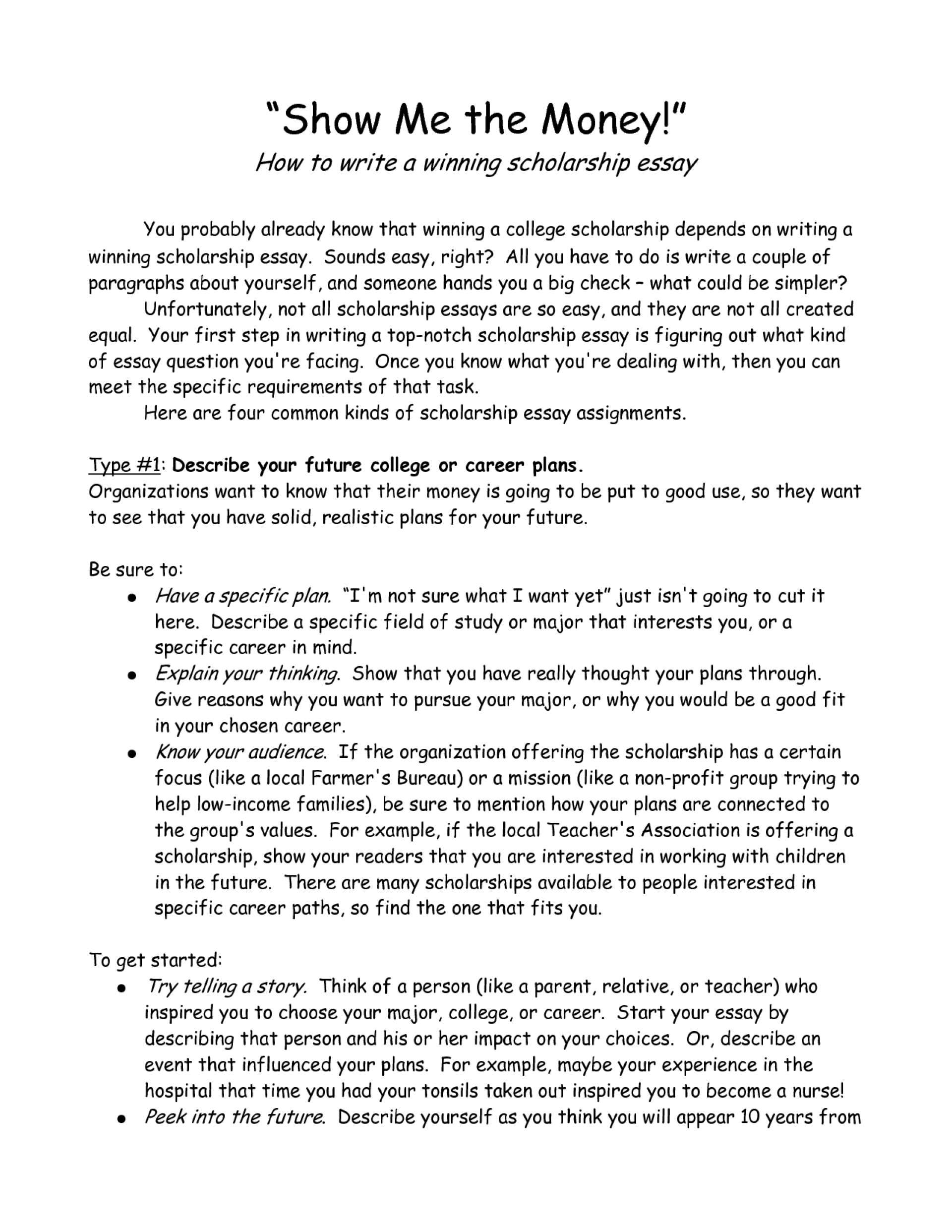 002 Essay Example Short Scholarships Amazing College Easy 1920