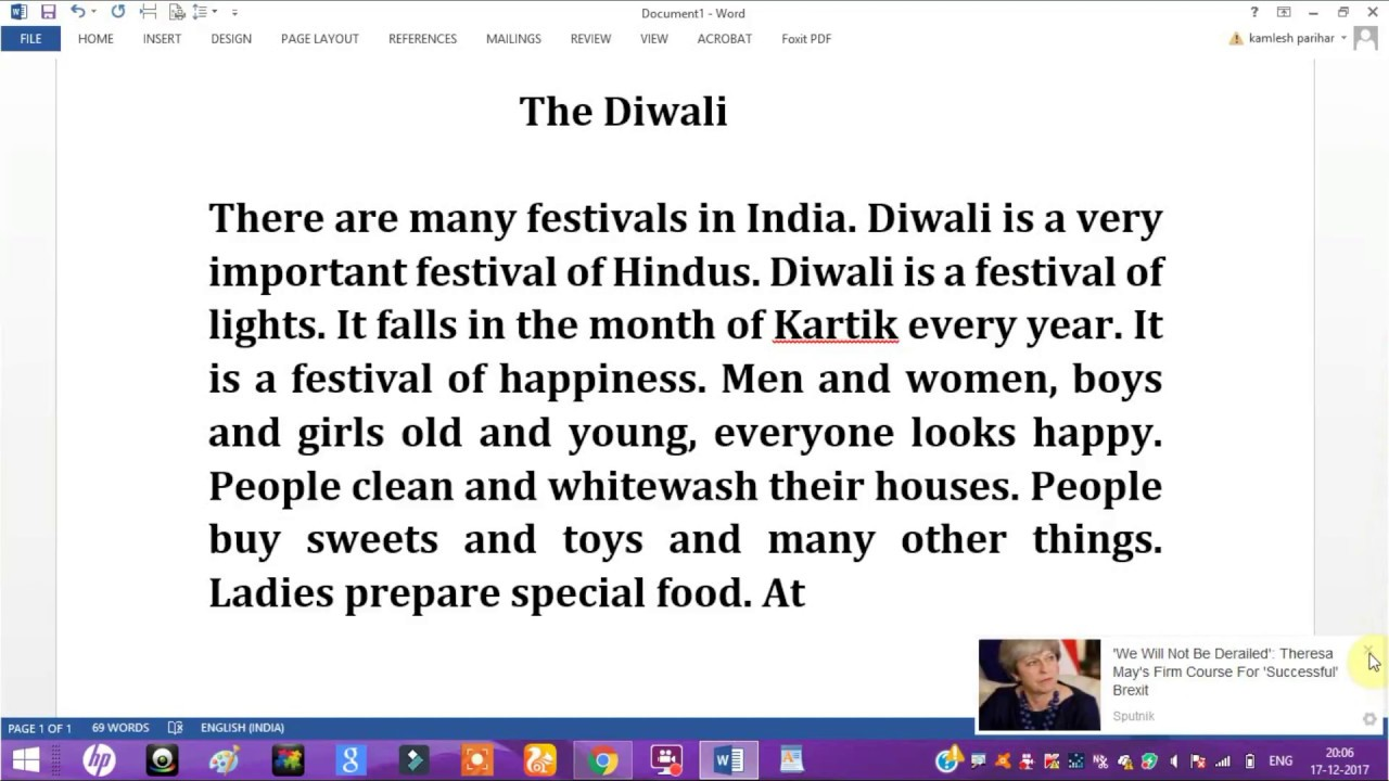 002 Essay Example Simple On Diwali Striking For Class 1 My Favourite Festival Full