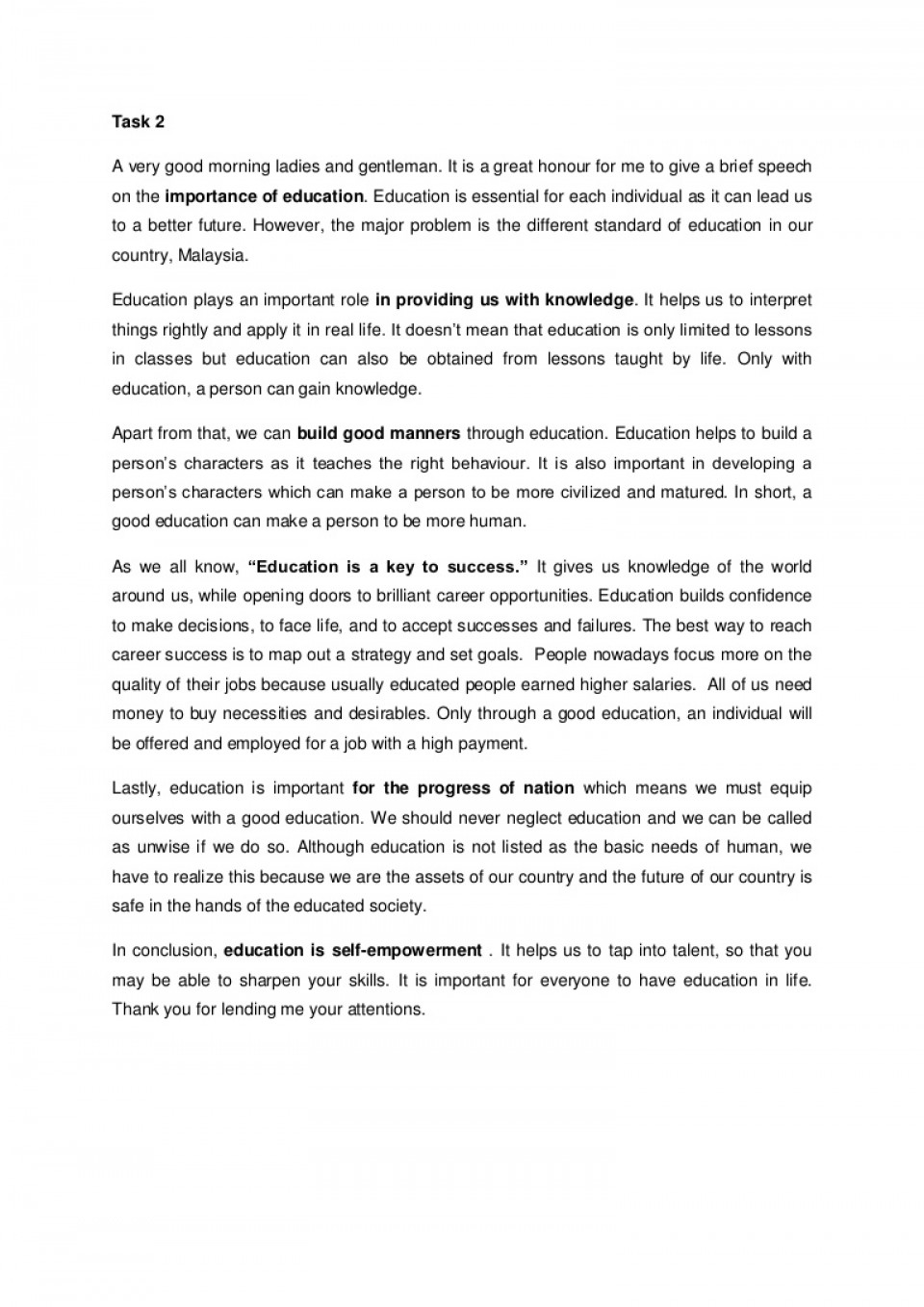002 Essay Example Speechoneducationfolio Phpapp02 Thumbnail Education Gives Best Power One 960