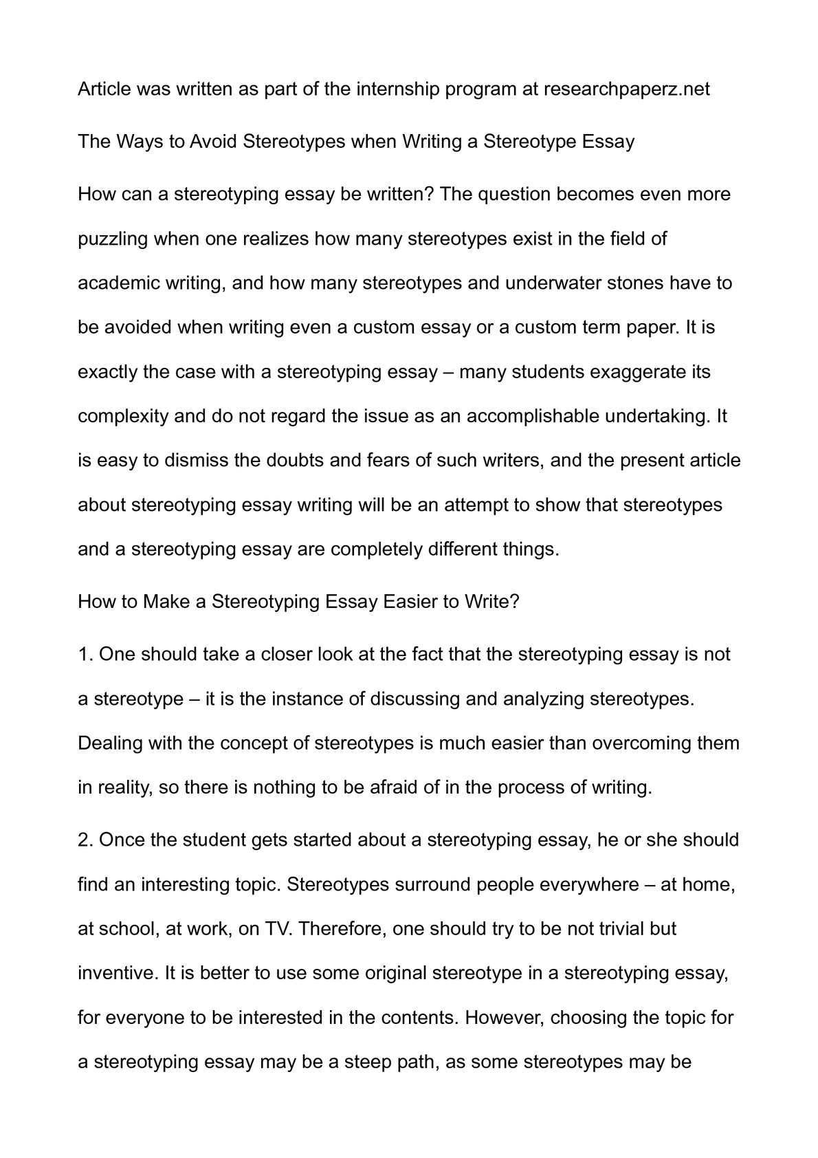 002 Essay Example Stereotype Unique Hook Conclusion Full