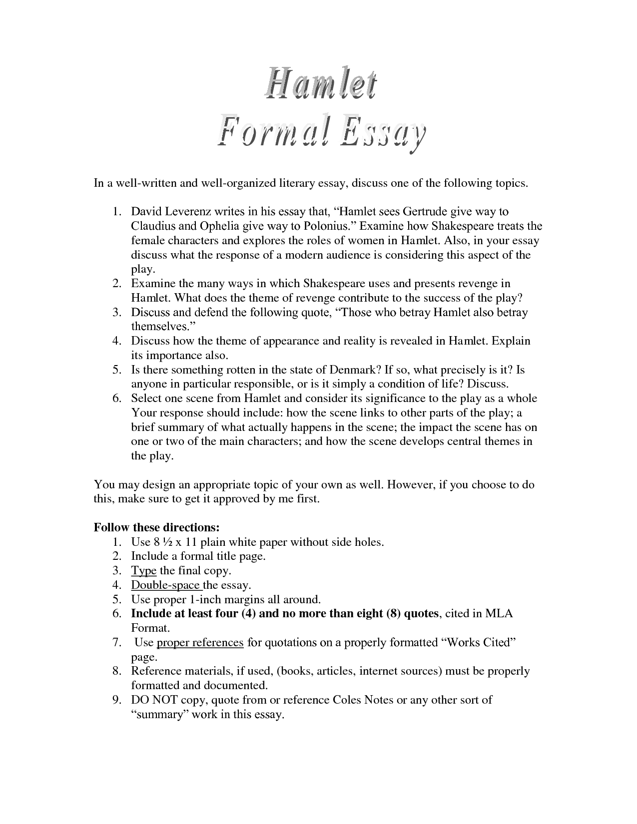002 Essay Example Topics Hamlet Revenge Theme Madness L Awful High School Argumentative Full