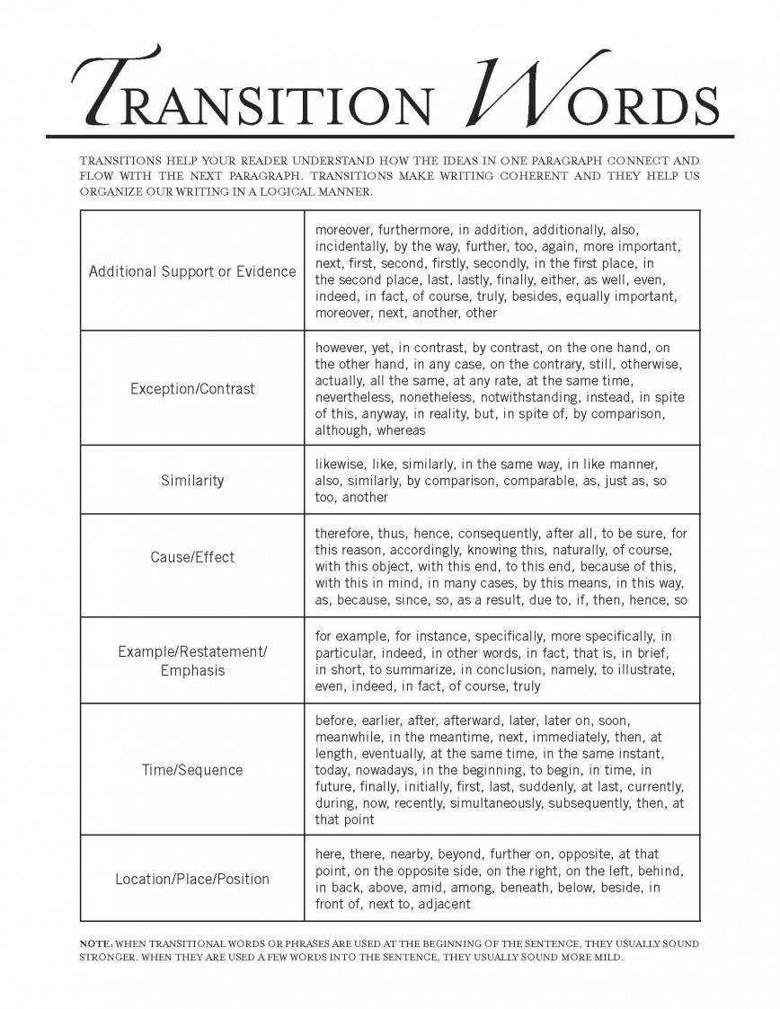 002 Essay Example Transition Words For Essays Rare College Middle School And Phrases List Pdf 868