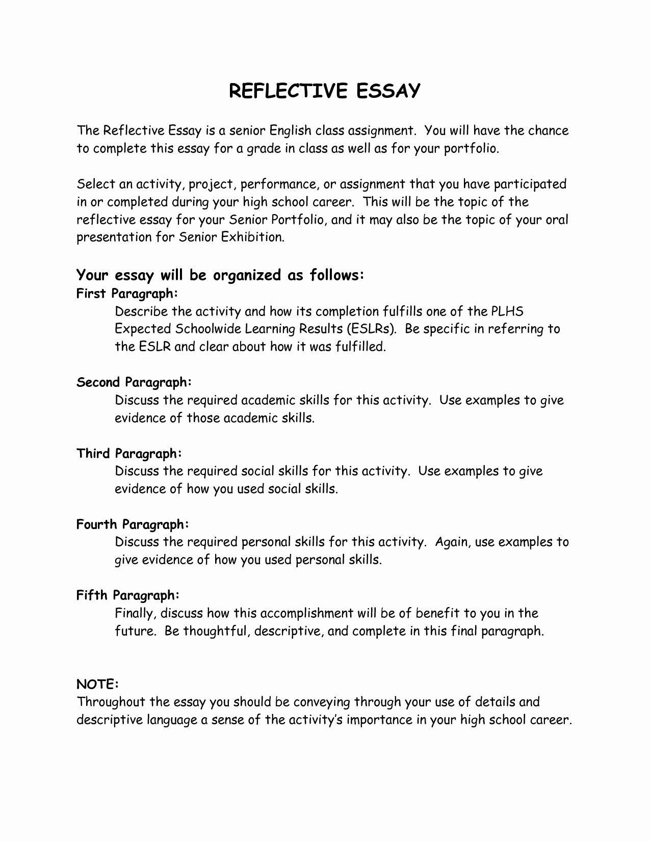 Personal reflective essay examples
