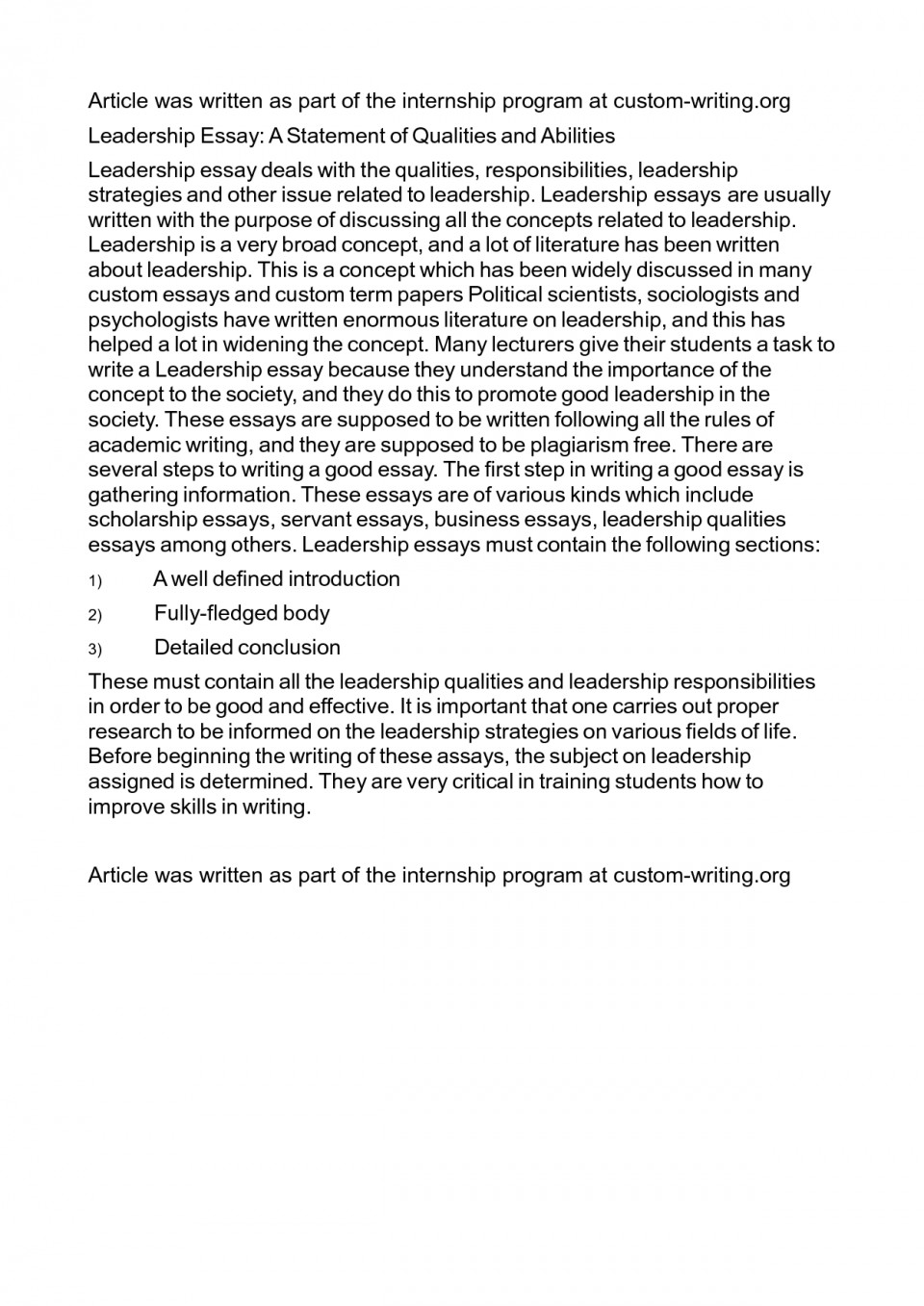 Essay Example What Makes Good Leader On Leadership College Top    Essay Example What Makes Good Leader On Leadership College Top  Rated Paper Jkua Schulich Scholarship  Compare And Contrast Essay High School Vs College also Psychology As A Science Essay Critical Essay Thesis Statement