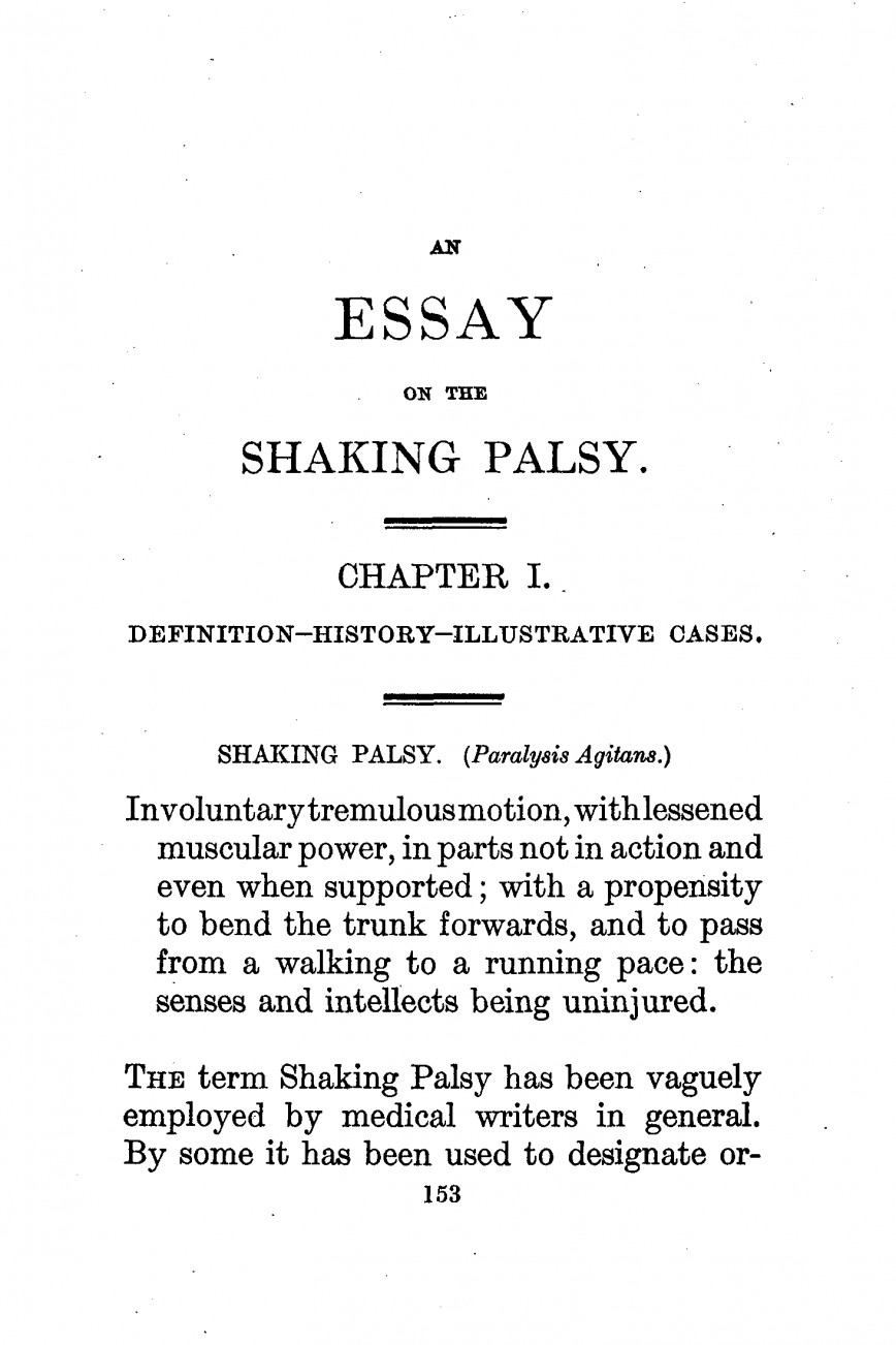 002 Essay On Example Parkinson2c An The Shaking Palsy 28first Page29 Imposing Argumentative Gun Control Bullying In Workplace Education Importance