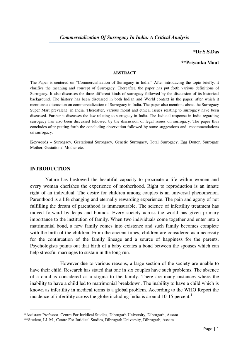 002 Essay On Surrogacy In India Example Awful