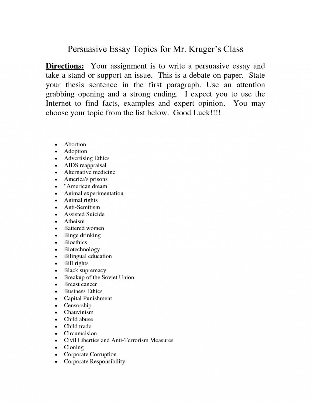 002 Essay Topic Ideas Example Persuasive Topics Outline Easy For High School Students College Essays Applicati 7th Graders Primary Middle Elementary Outstanding University Narrative 6th Large