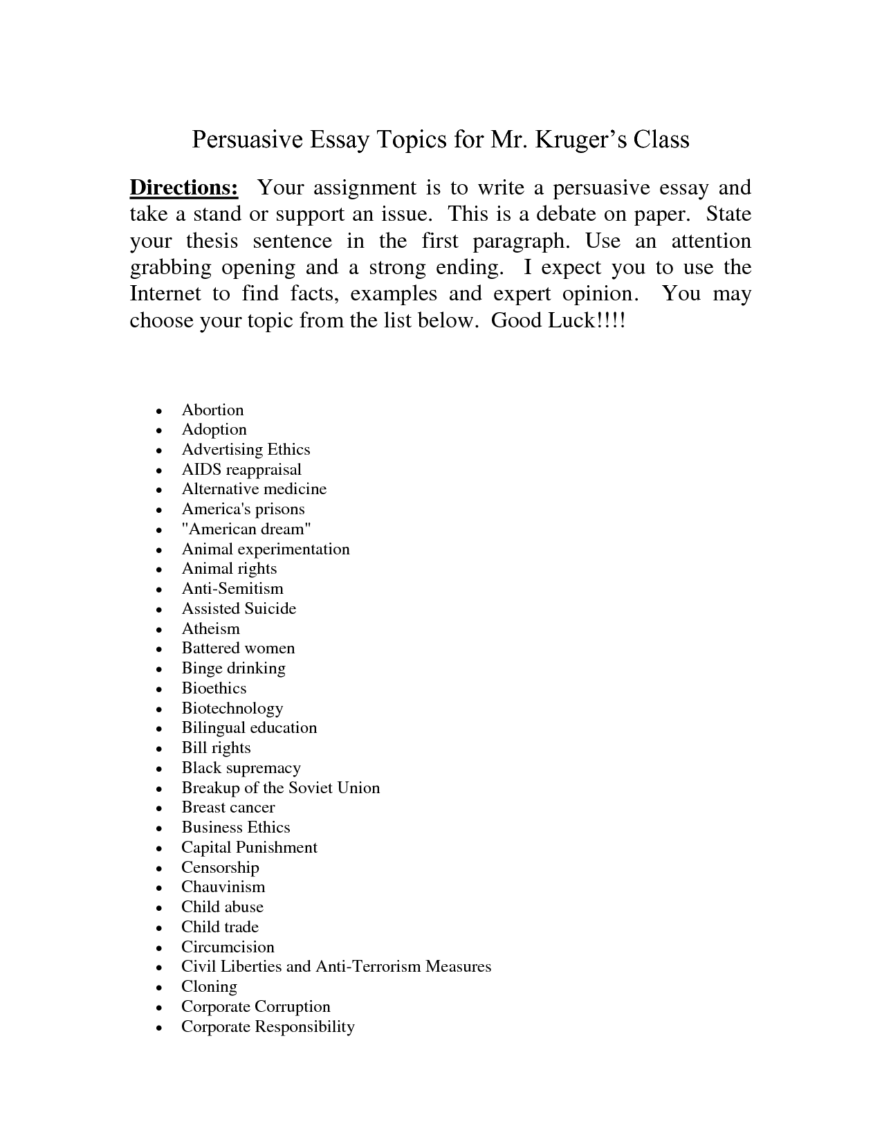002 Essay Topic Ideas Example Persuasive Topics Outline Easy For High School Students College Essays Applicati 7th Graders Primary Middle Elementary Outstanding University Narrative 6th Full