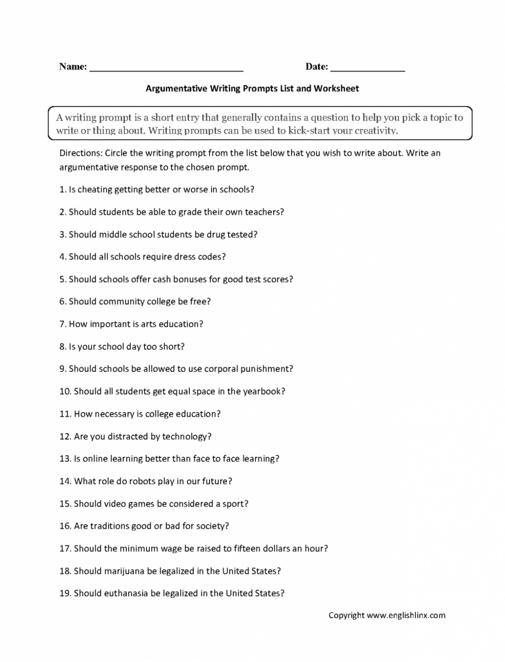 002 Essay Writing Prompts Example Argument Goal Blockety Co For College Argumentative List Work High School Students Adults 5th Grade Middle Elementary 6th 9th Formidable Narrative 5 Paragraph Large