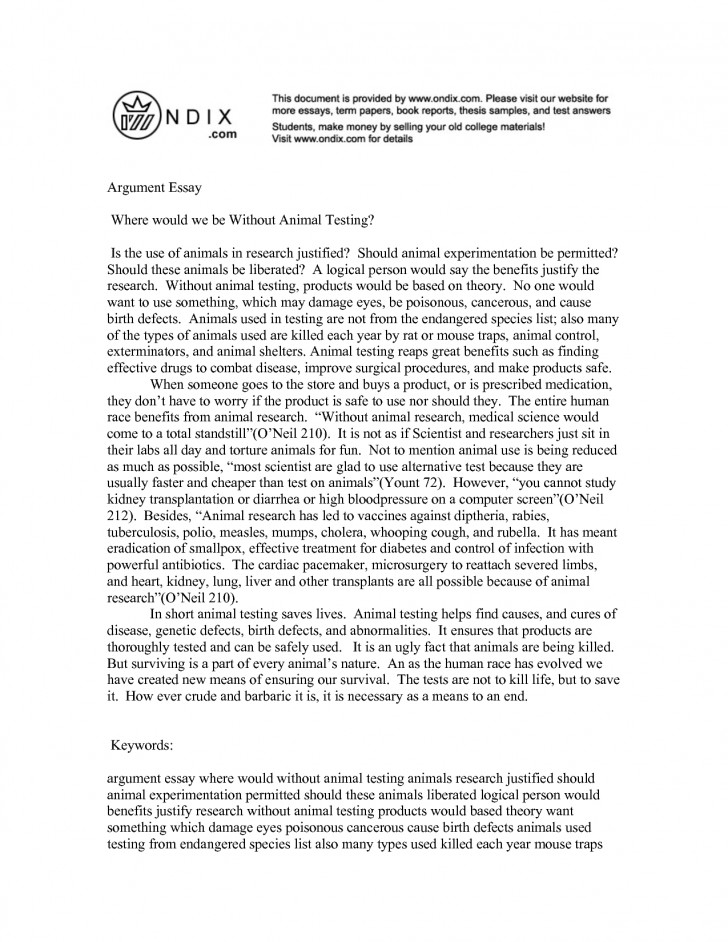 Essay against animal testing