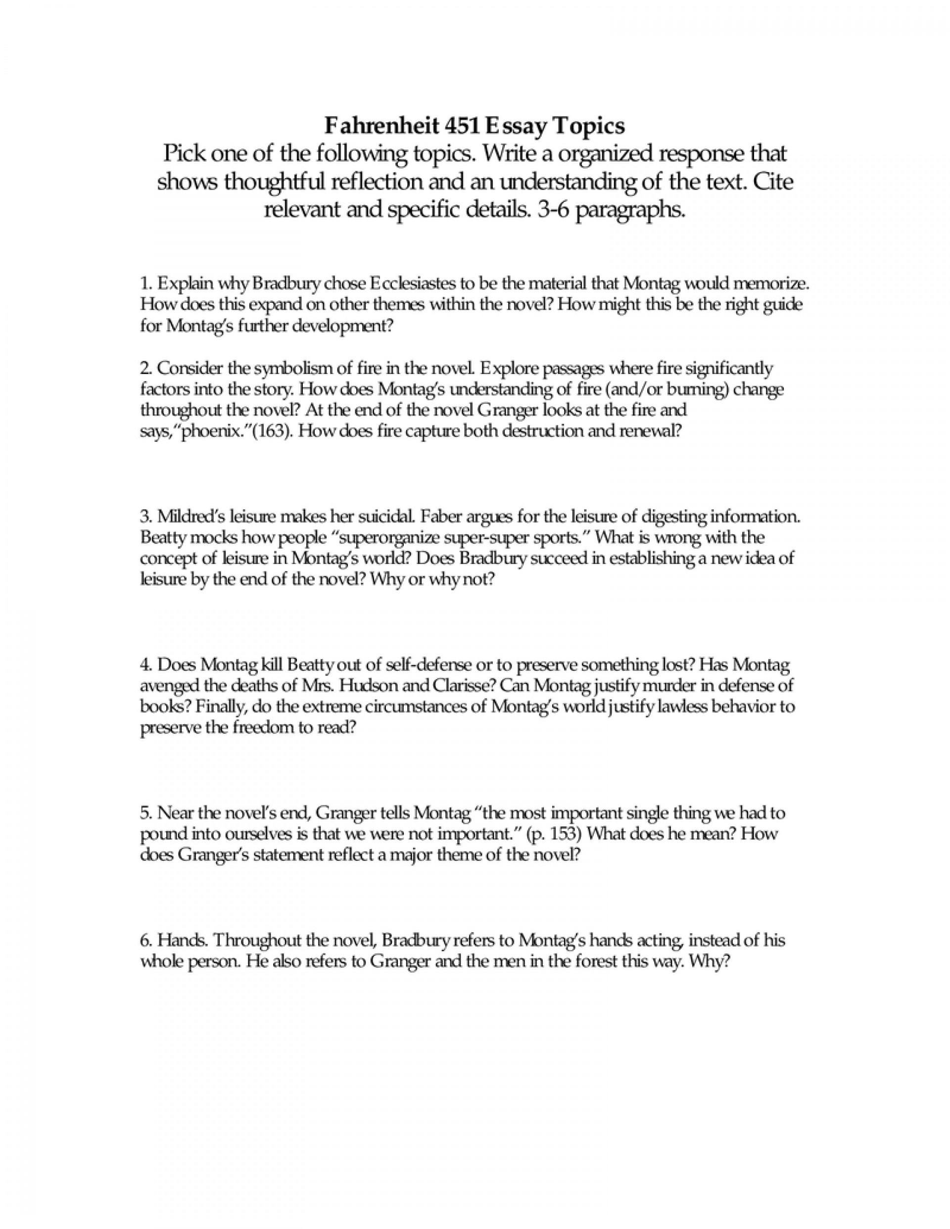 002 Fahrenheit Essay Best 451 Research Paper Topics Prompts Questions Pdf 1920