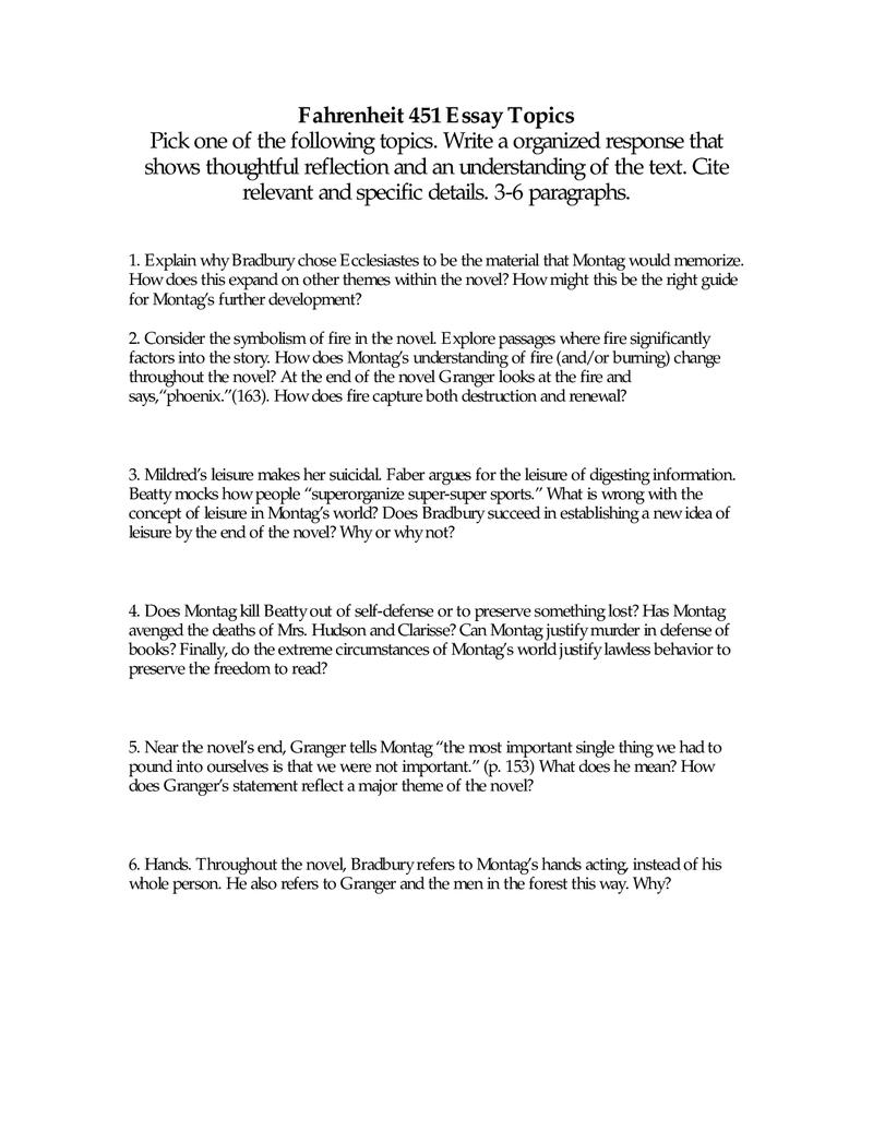 002 Fahrenheit Essay Best 451 Research Paper Topics Prompts Questions Pdf Full