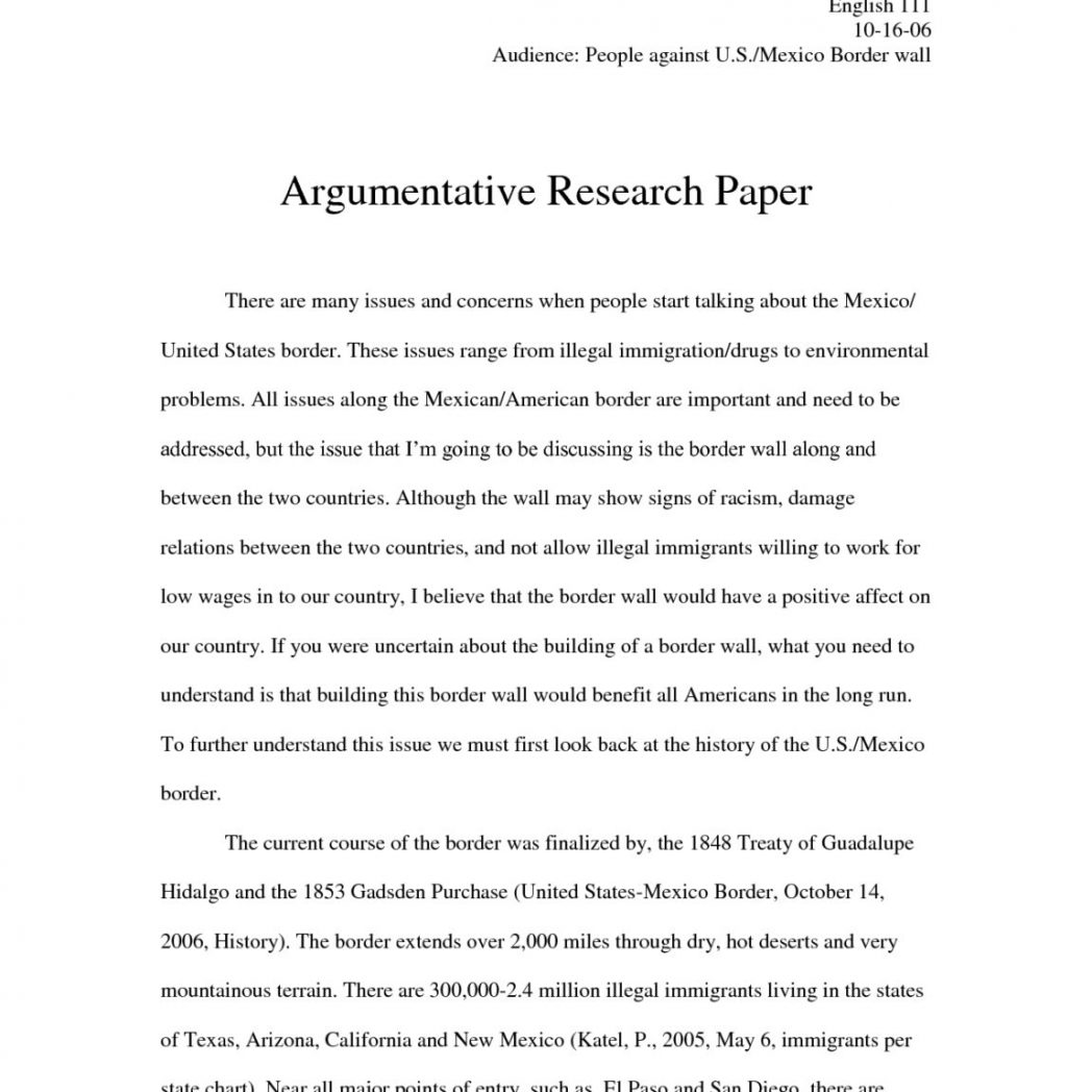 Researched argument essay example