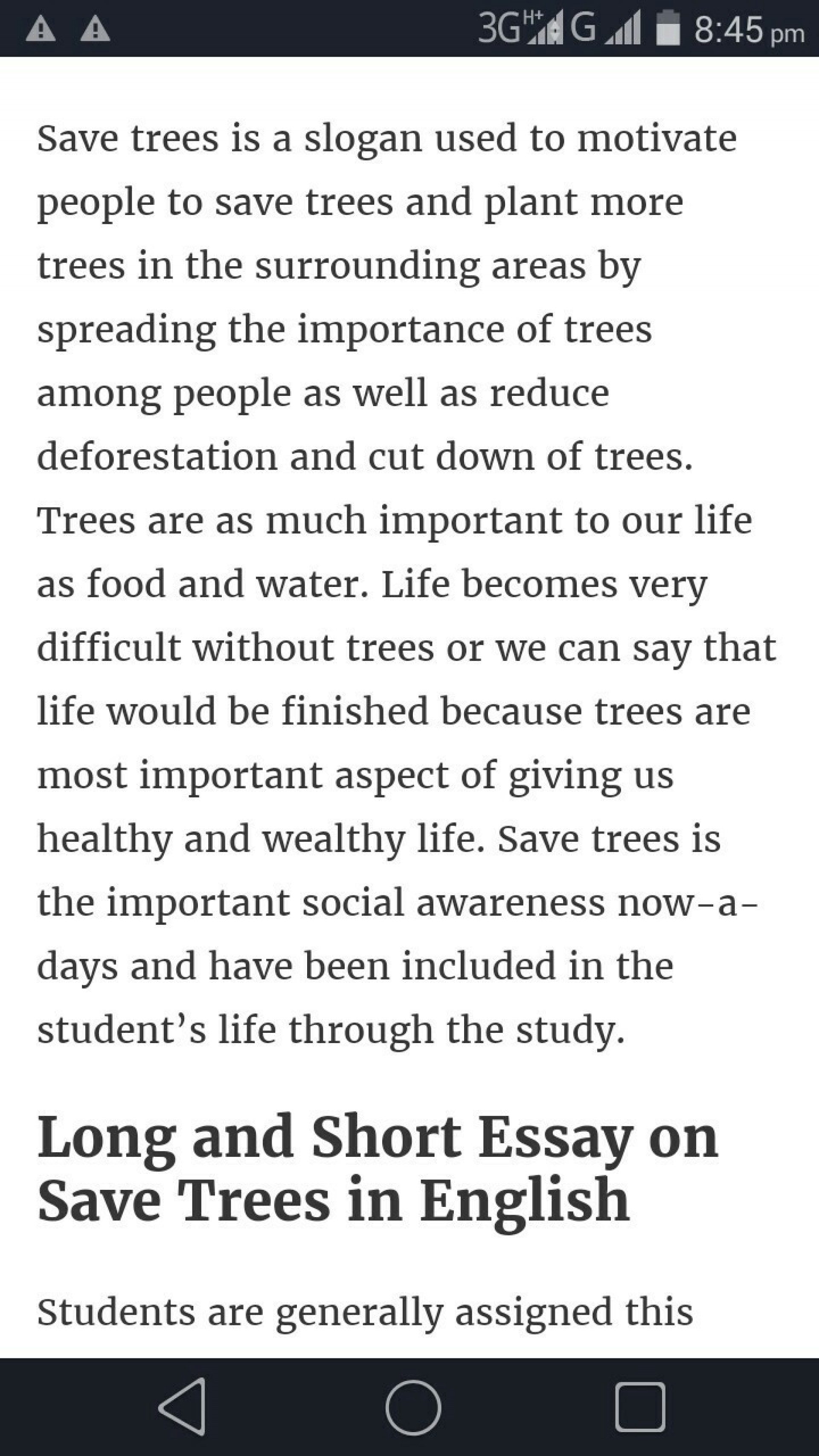 002 How Can We Save Trees Essay Marvelous To In Hindi Telugu 1920