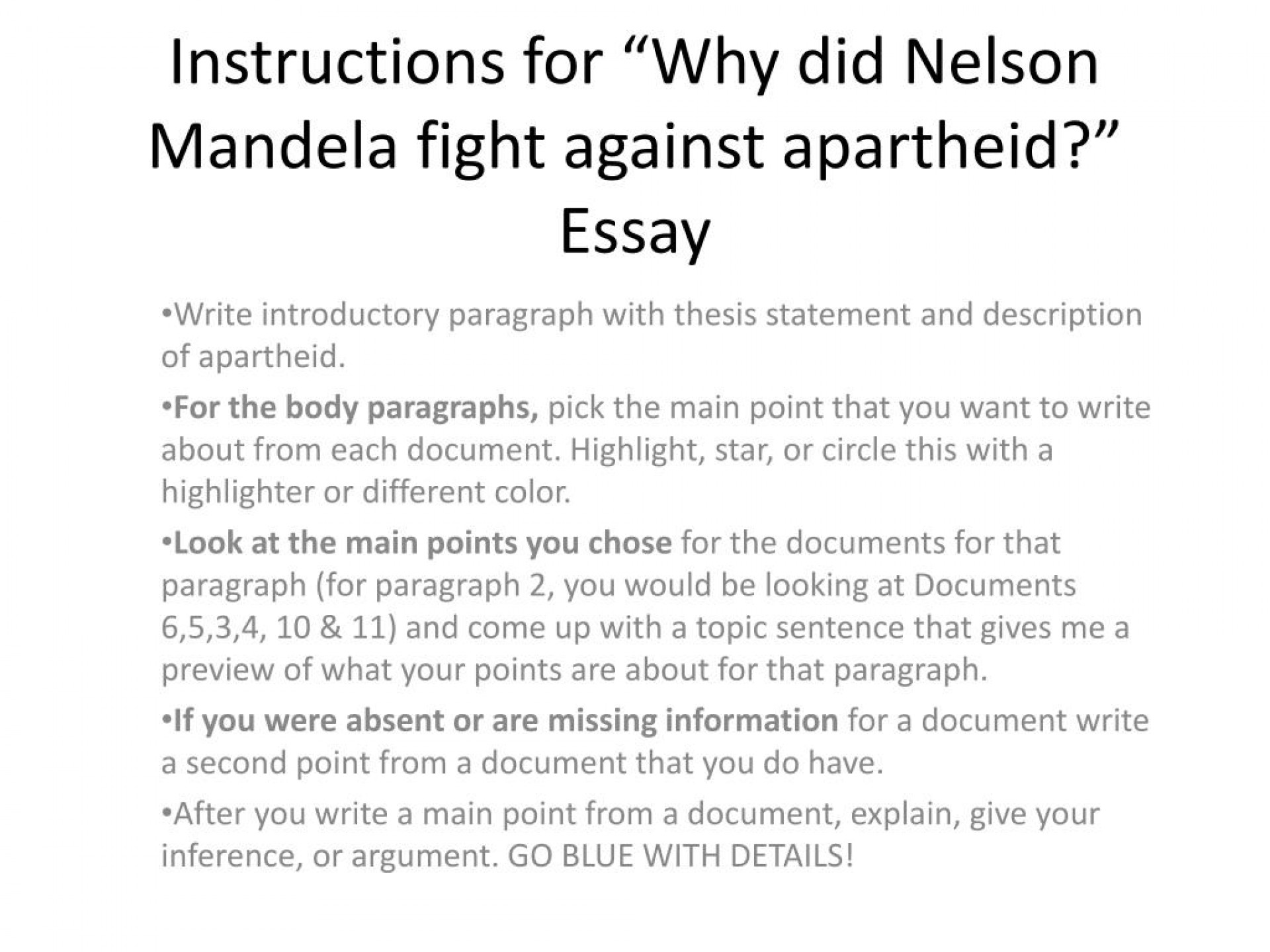 002 Instructions For Why Did Nelson Mandela Fight Against Apartheid Essay L Archaicawful Questions Research Paper Topics 1920