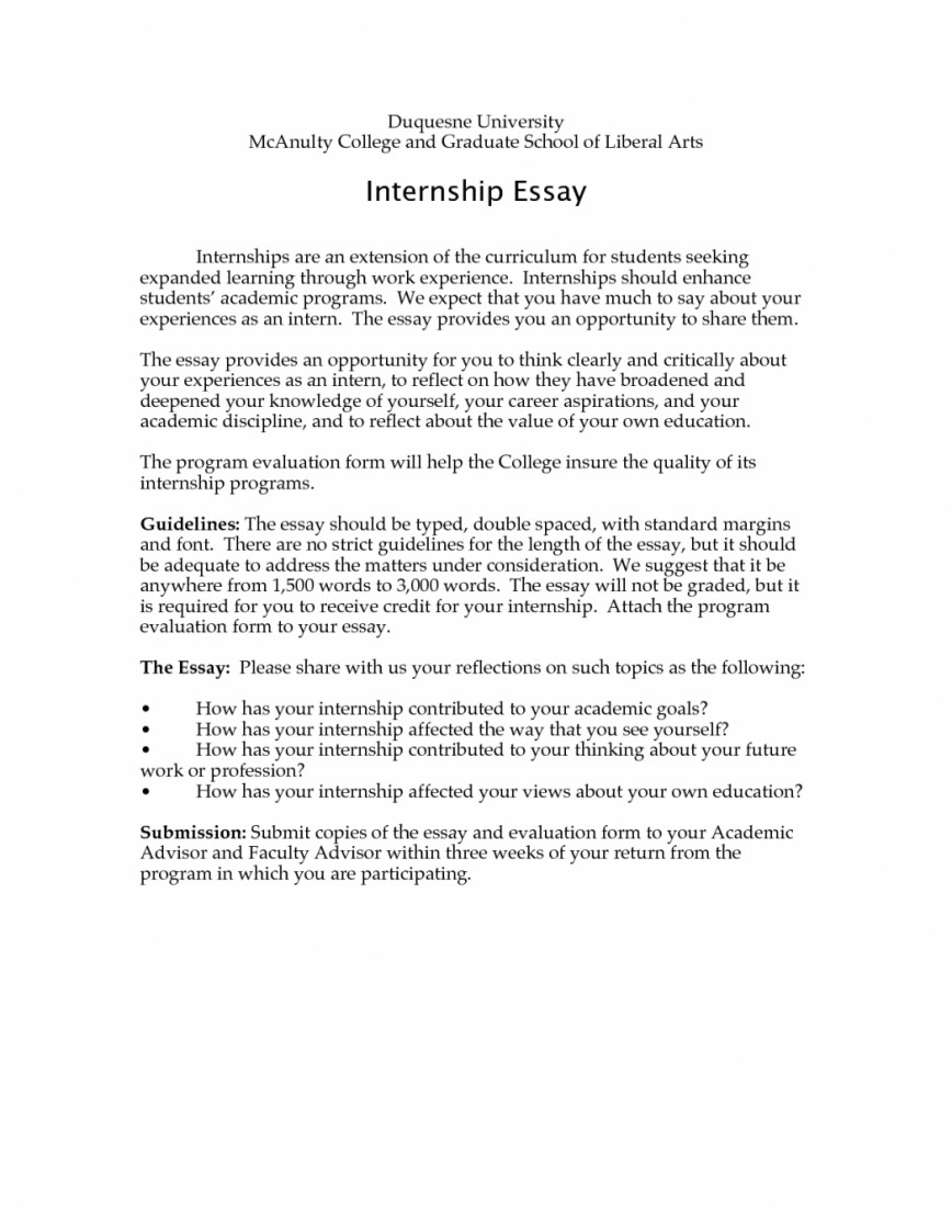 Sample essay for internship application