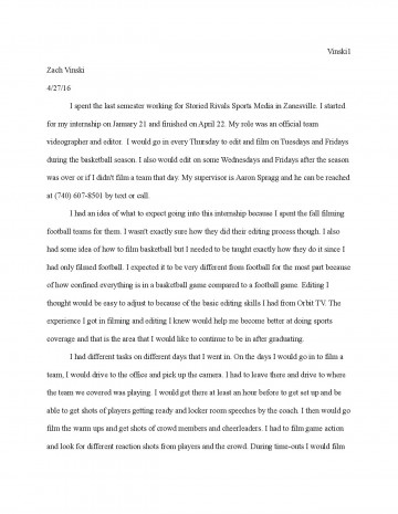 002 Internship Reflection Paper Page Essay ~ Thatsnotus