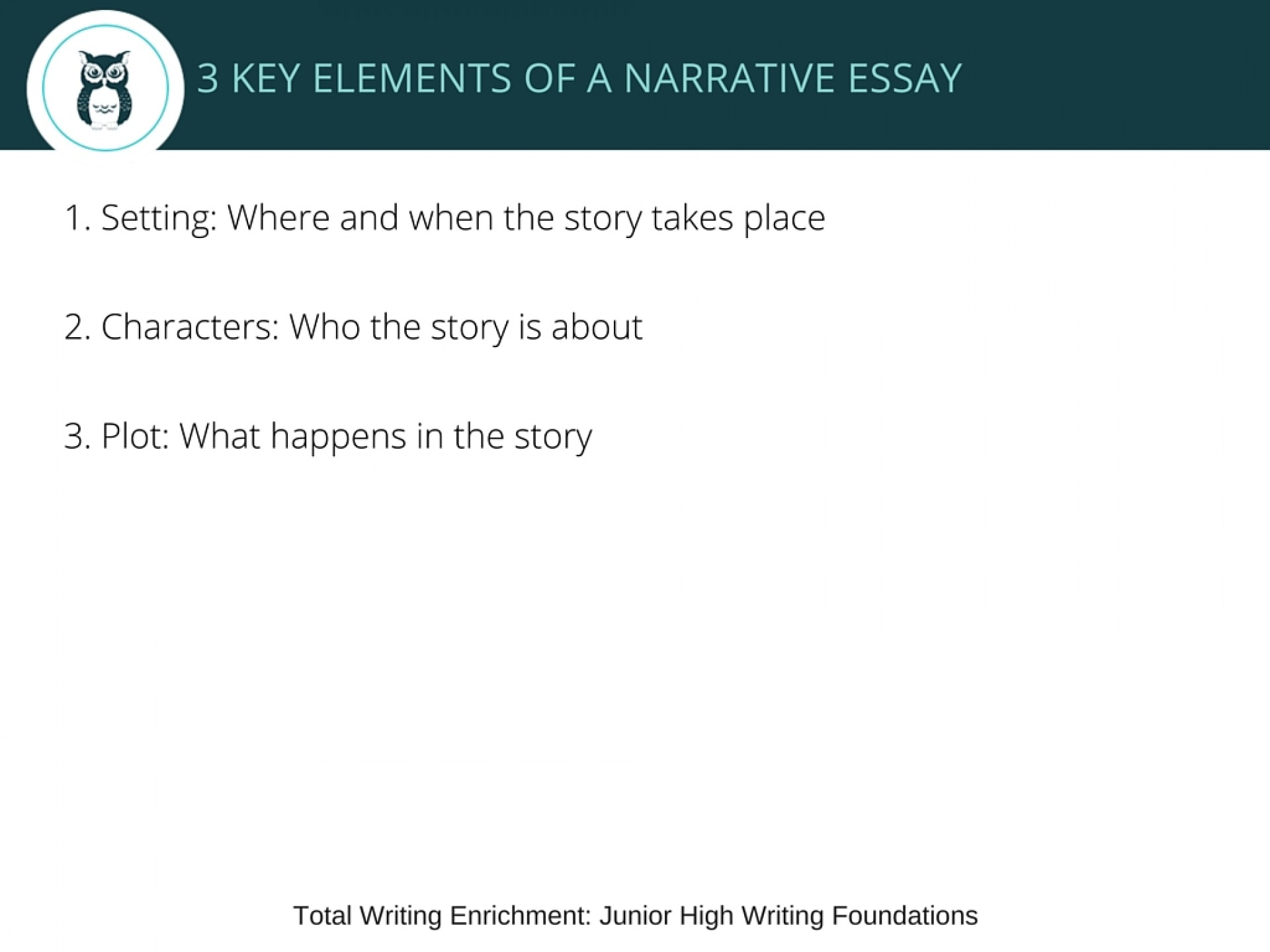002 Jr High Writing Foundations Lesson Narrative Essay Elements Of Excellent In Philippine Literature Pdf 1920