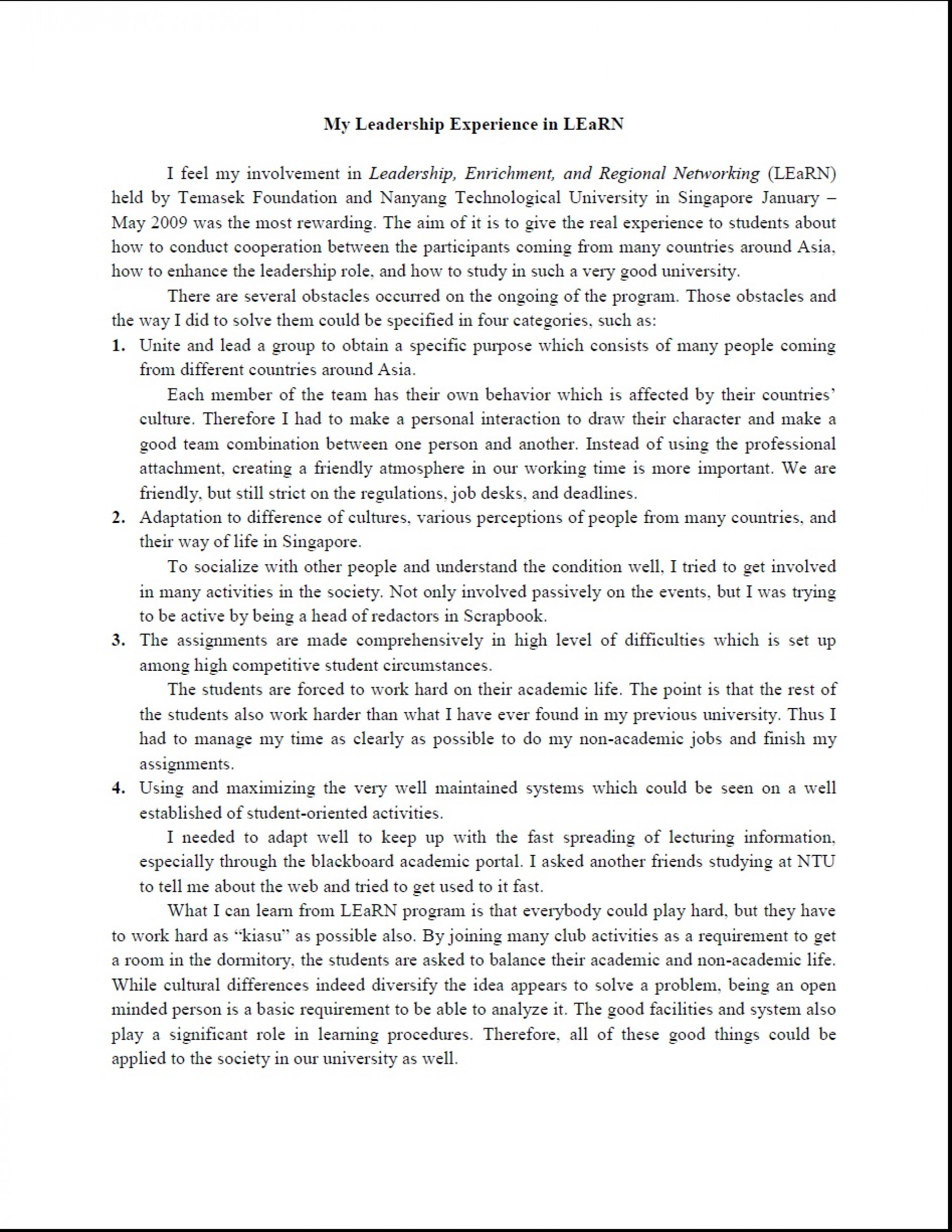 002 Leadership Essays My Unique Essay Examples Personal Philosophy Paper Mba College 1920