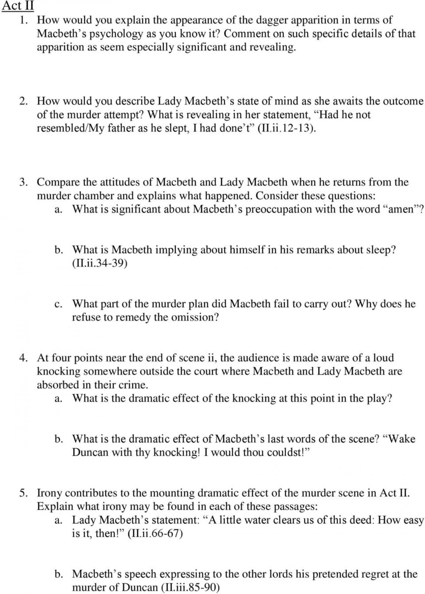 002 Macbeth Essay Questions Topics For How To Write Scholarships P