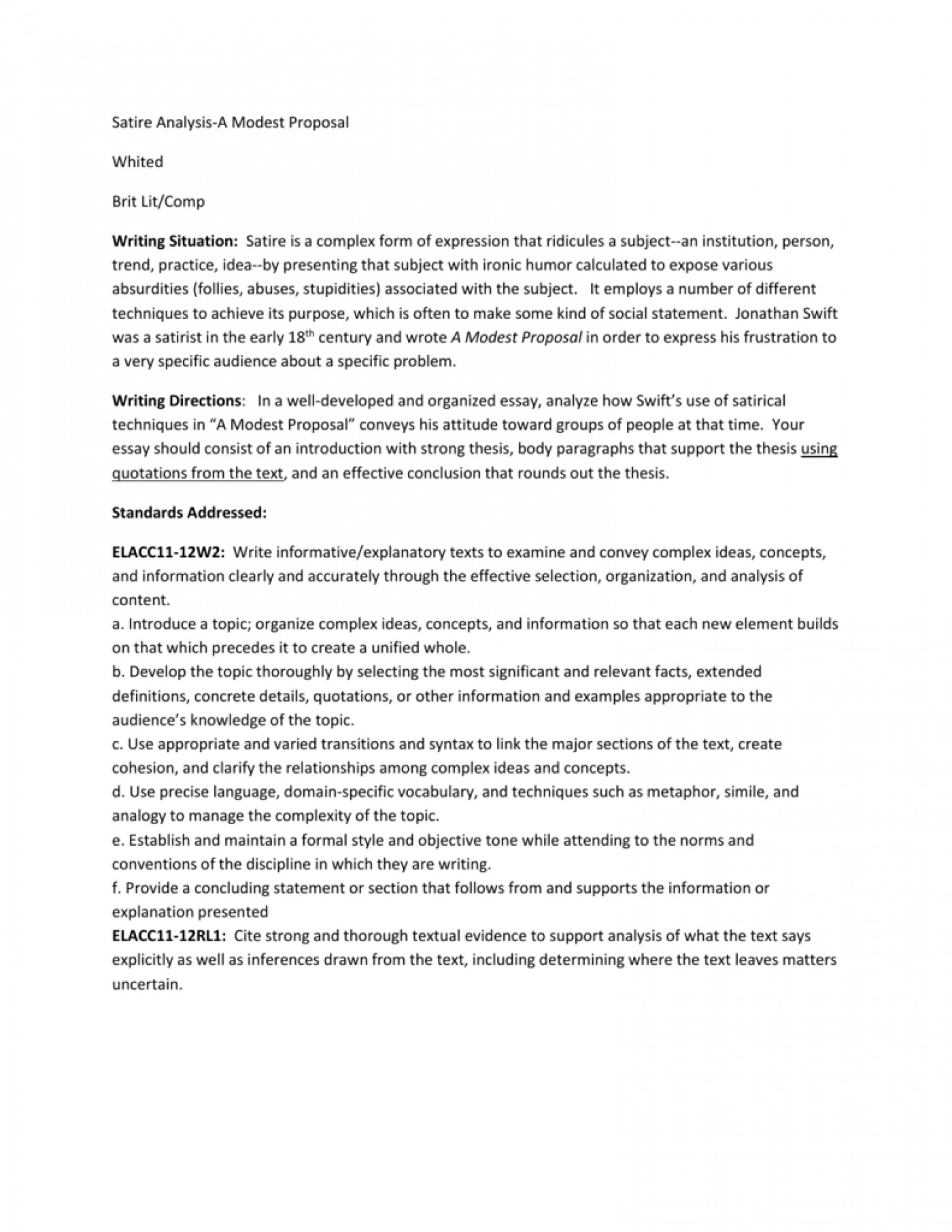 modest proposal essay example    thatsnotus