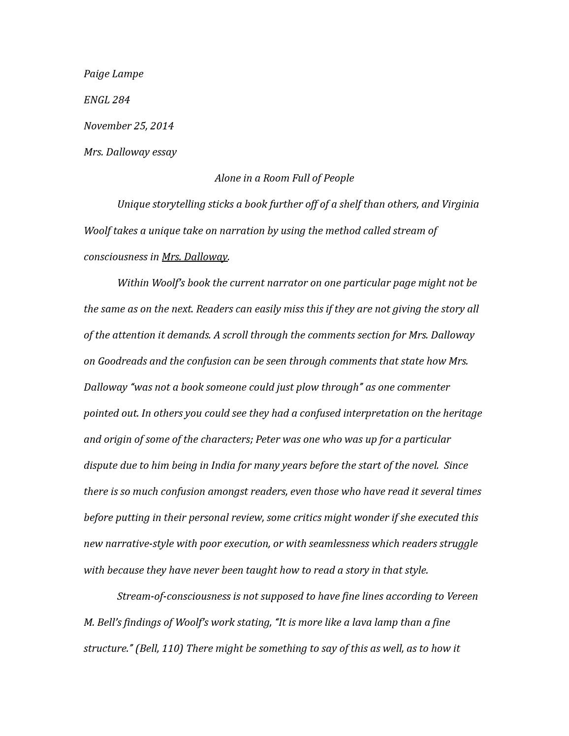 002 Mrs Dalloway Essay Page 1 Marvelous Analysis Critical Essays