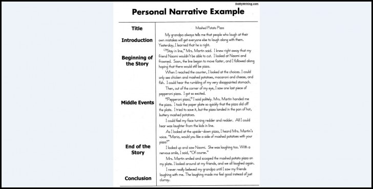 002 Narrative Essay Exceptional Examples 4th Grade Outline Format College 728