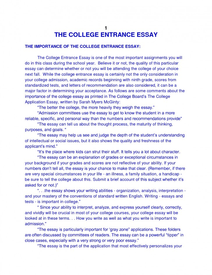 college essay about work