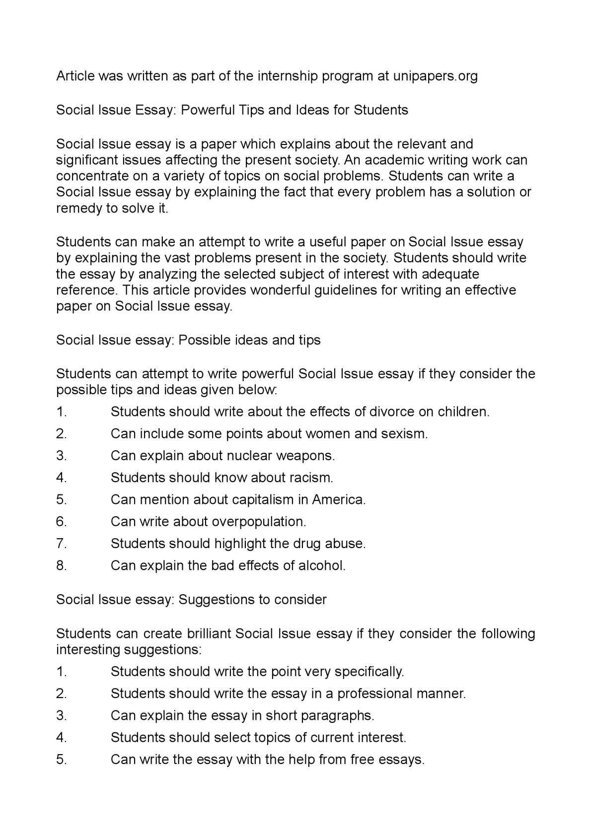 002 P1 Social Issues Essay Outstanding Topics Example Full