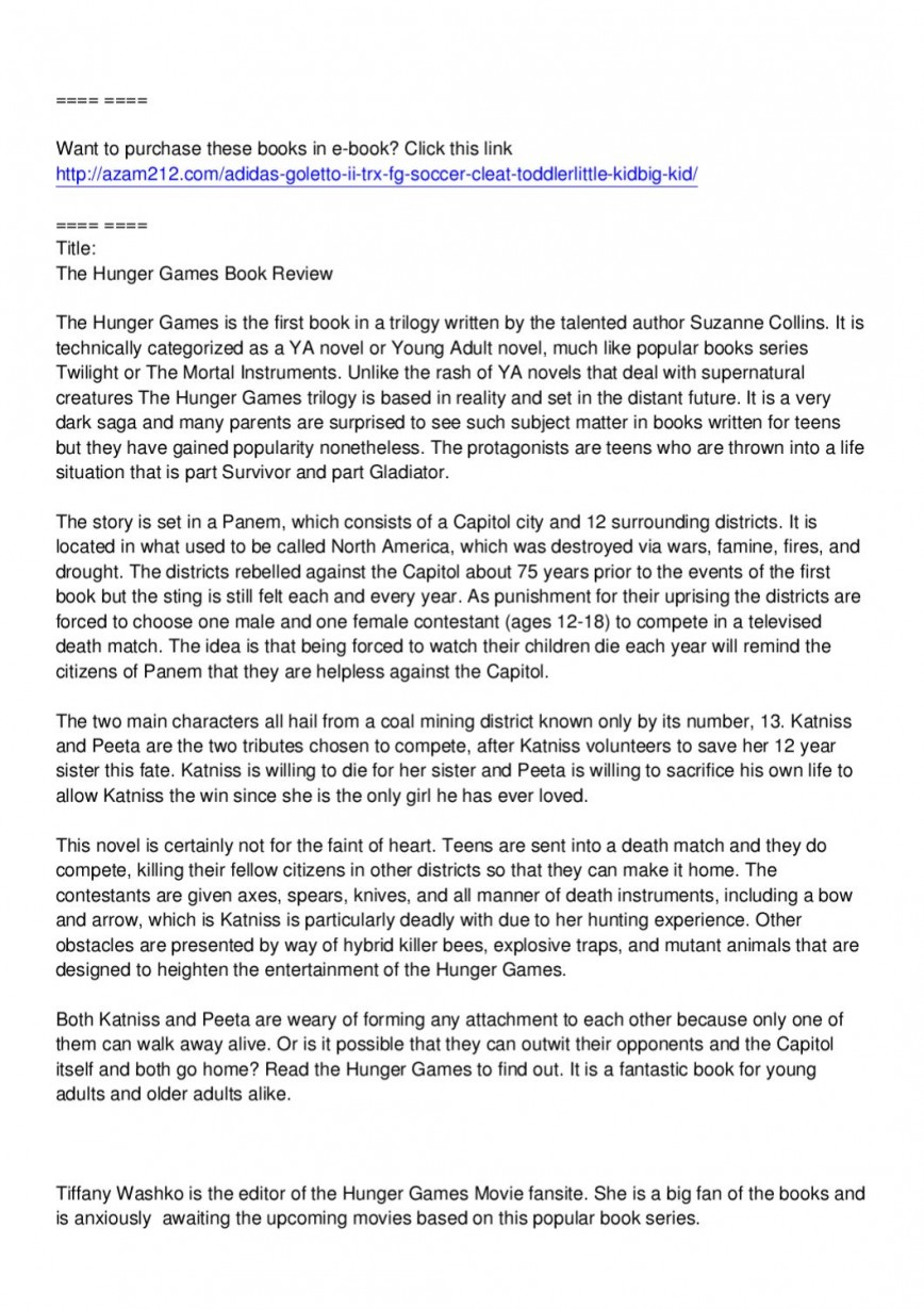 002 Page 1 Essay Example The Hunger Games Book Imposing Review 868