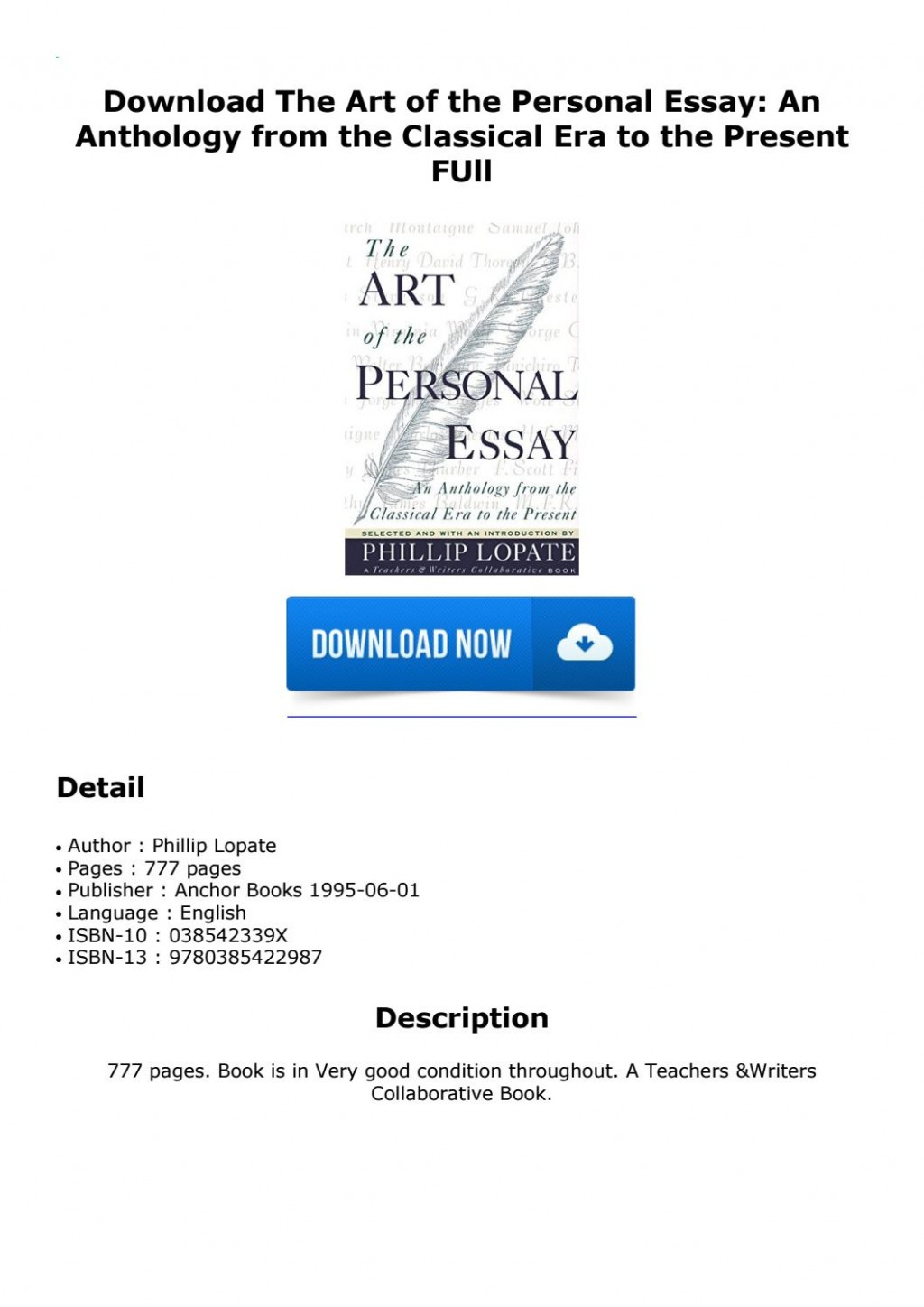 002 Page 1 The Art Of Personal Essay Beautiful Phillip Lopate Table Contents Sparknotes Large