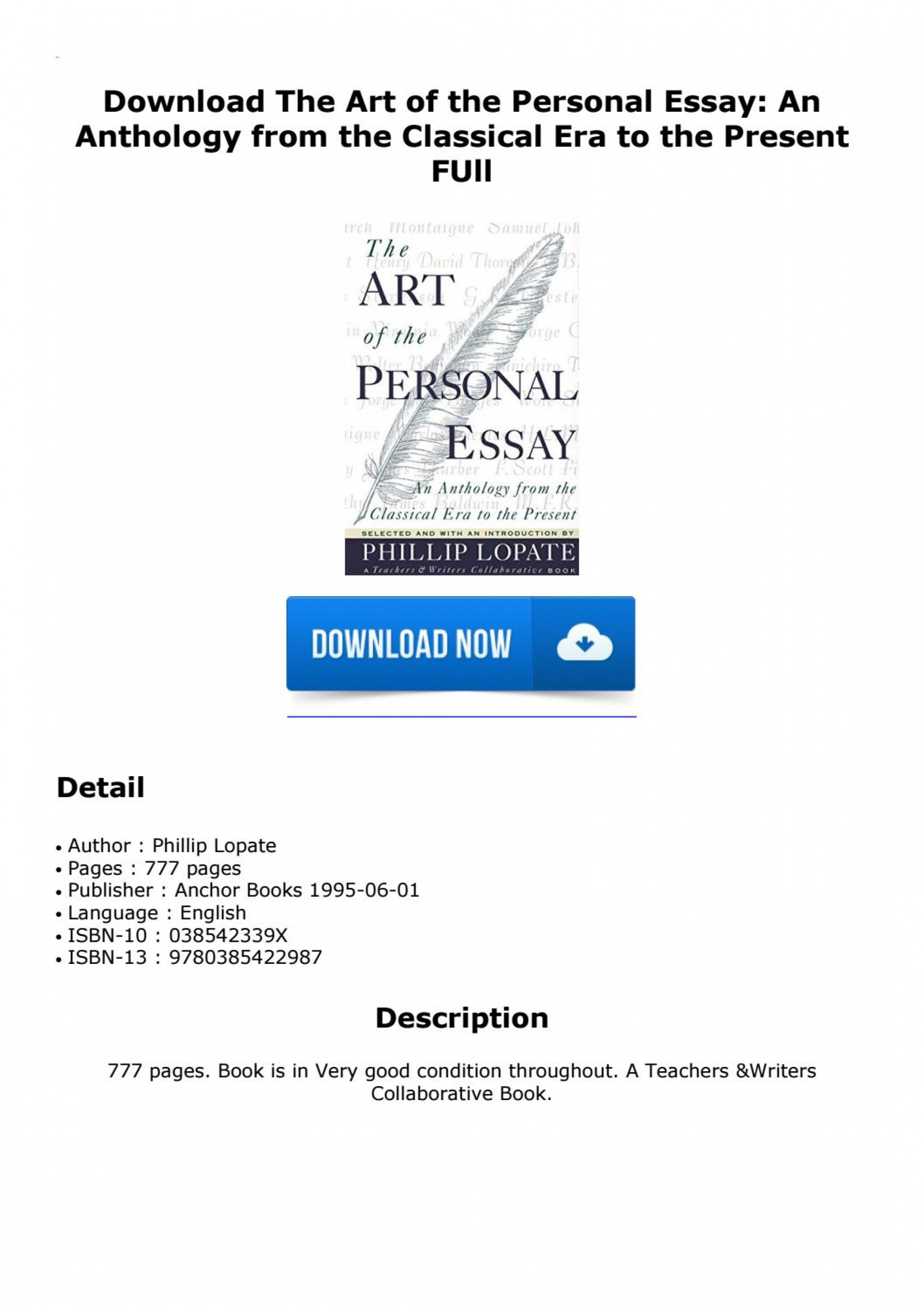 002 Page 1 The Art Of Personal Essay Beautiful Phillip Lopate Table Contents Sparknotes 1920