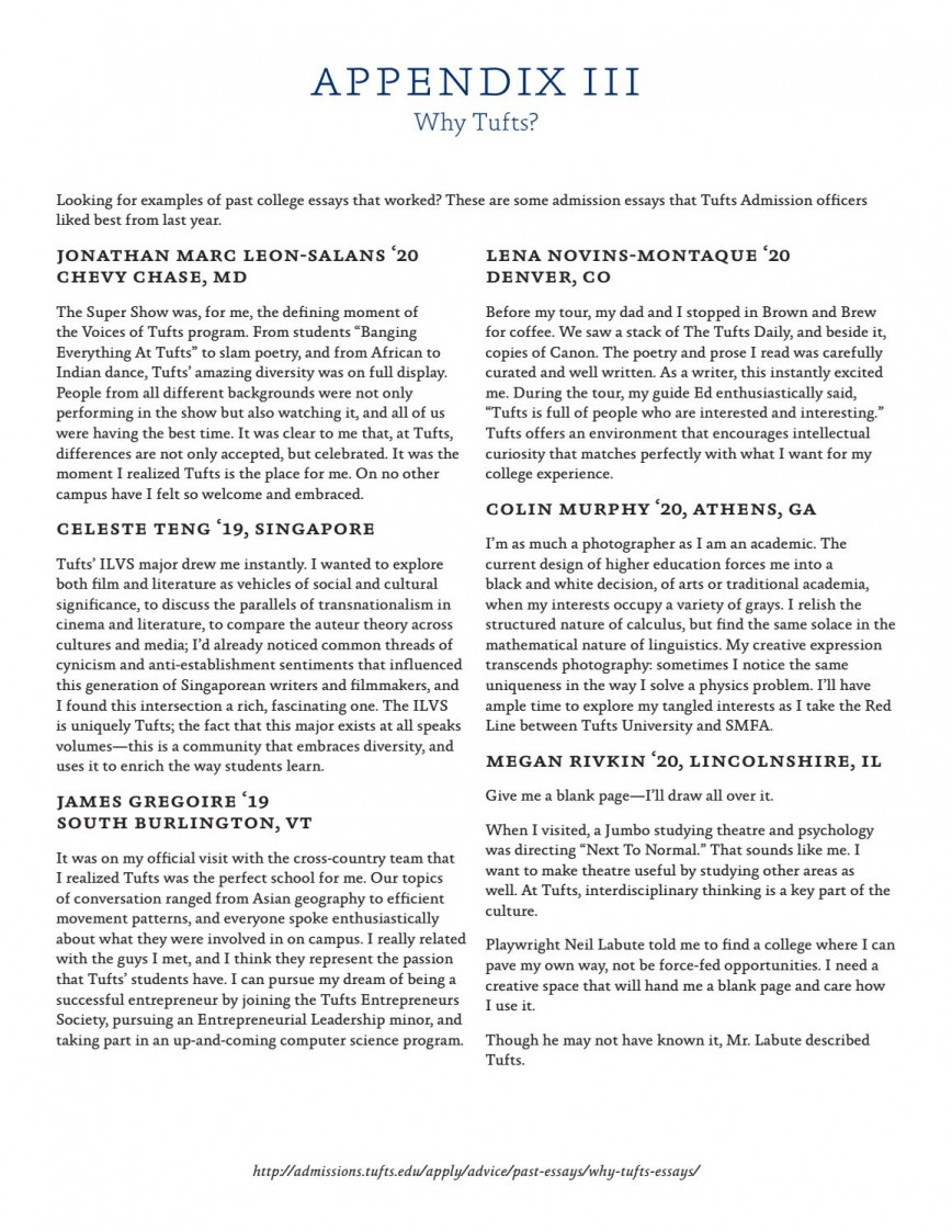 002 Page 11 Why Tufts Essay Excellent 250 Words 50 College Confidential