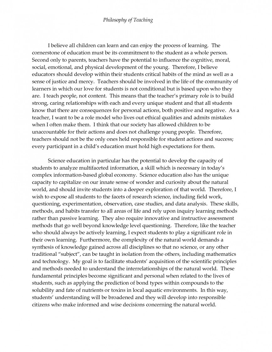 002 Philosophy Of Education Essay Incredible Examples Gcu Samples