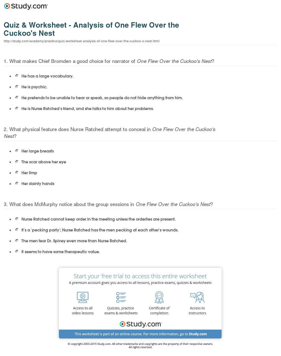 002 Quiz Worksheet Analysis Of One Flew Over The Cuckoo S Nest Essay Example Wonderful Cuckoos Cuckoo's Prompts Writing Questions Full