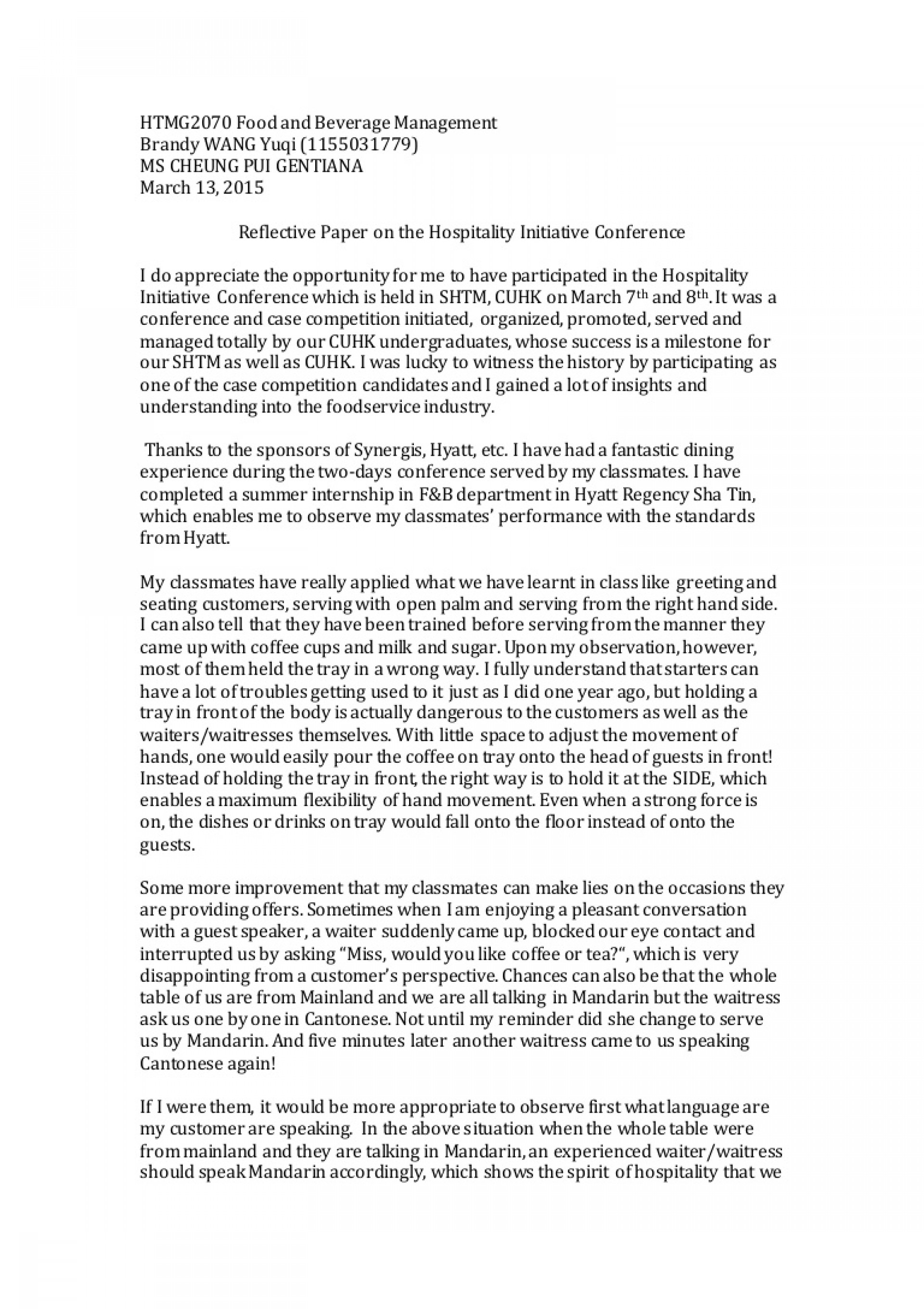 002 Reflectivepaperonthehospitalityinitiativeconference Conversion Gate01 Thumbnail Essay Example Rare Internship Expectations Sample Format Layout 1920