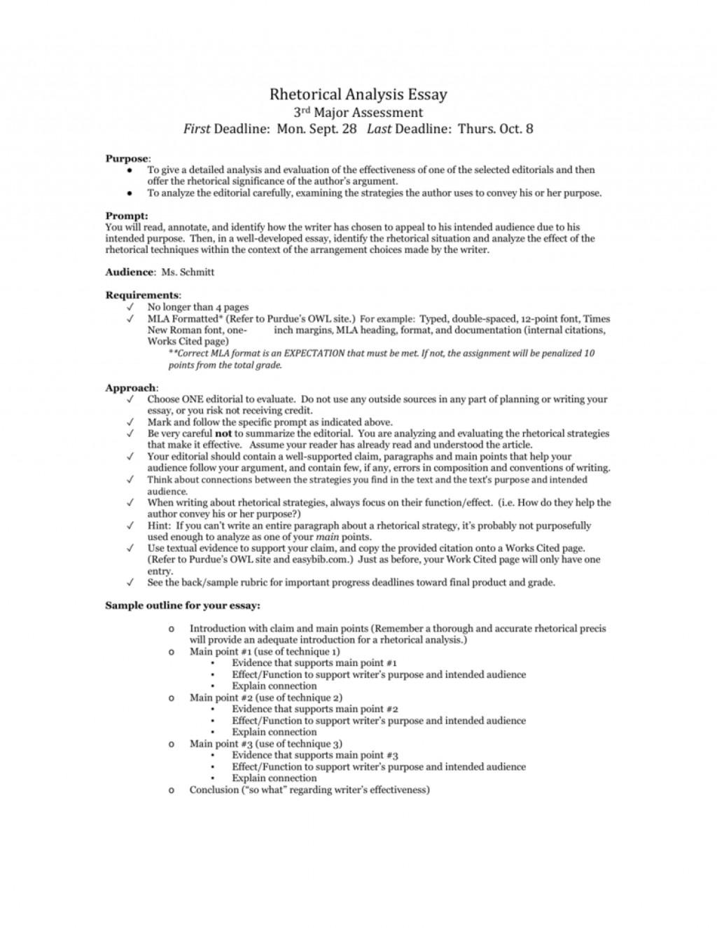 002 Rhetorical Situation Example Essay 009490800 1 Imposing Large
