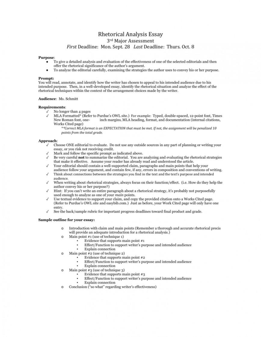 002 Rhetorical Situation Example Essay 009490800 1 Imposing