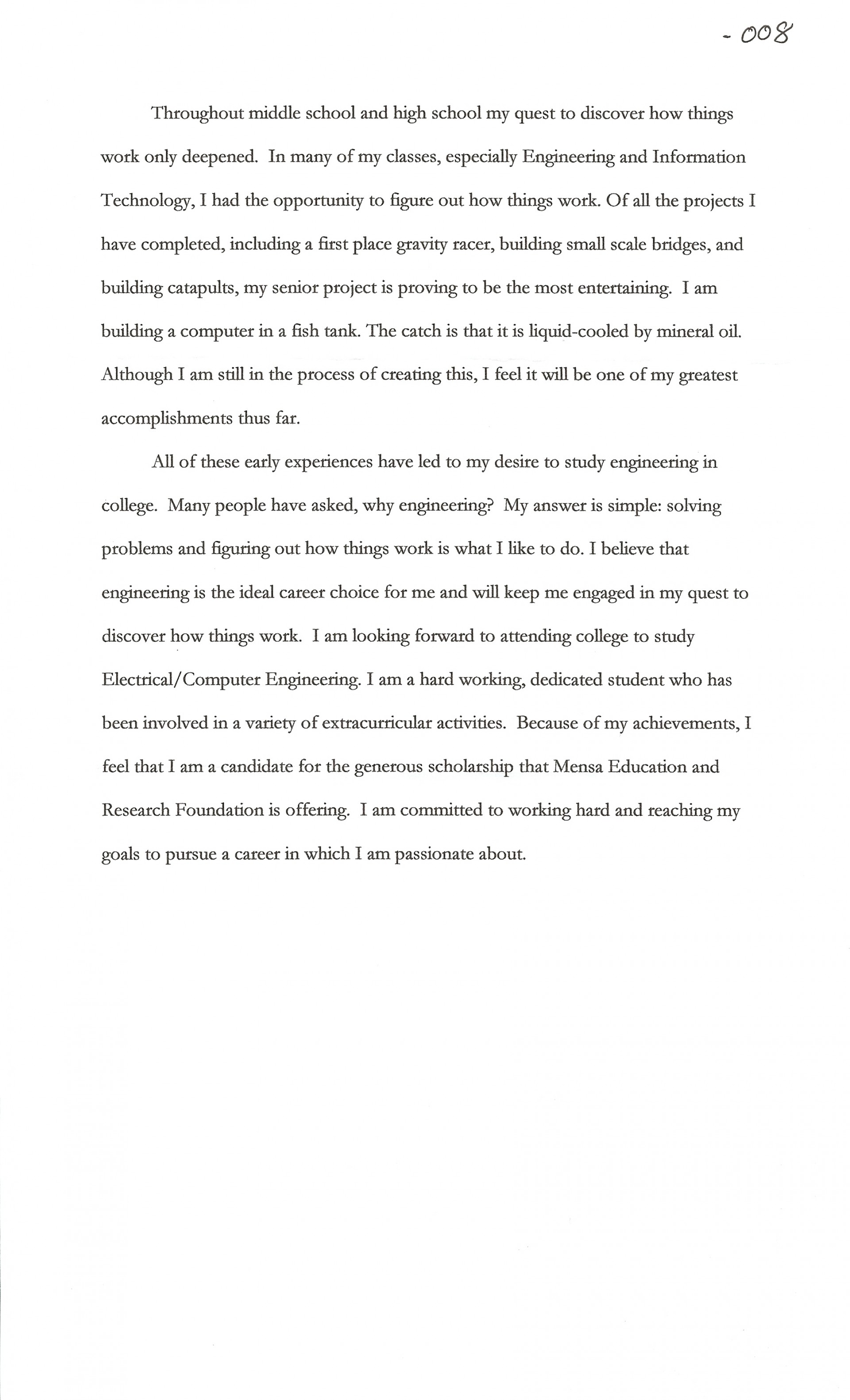 002 Scholarship Essay Examples About Career Goals Example Joshua Cate Imposing Pdf 1920