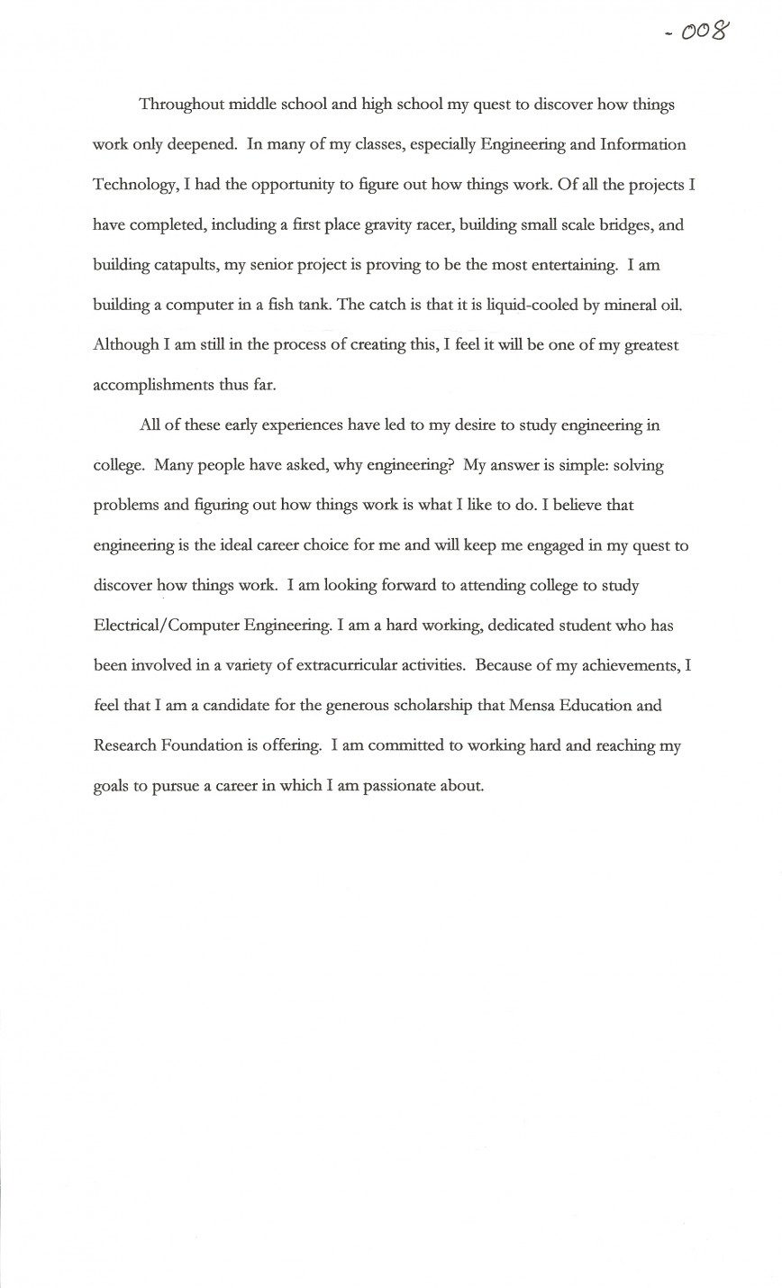 002 Scholarship Essay Examples About Career Goals Example Joshua Cate Imposing Pdf
