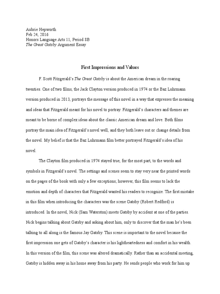 002 The Great Gatsby Argument Essay Scott Fitzgerald Argumentative Research About American Dream Is Attainable Prompt Still Alive Topics On Possible Marvelous Examples Full