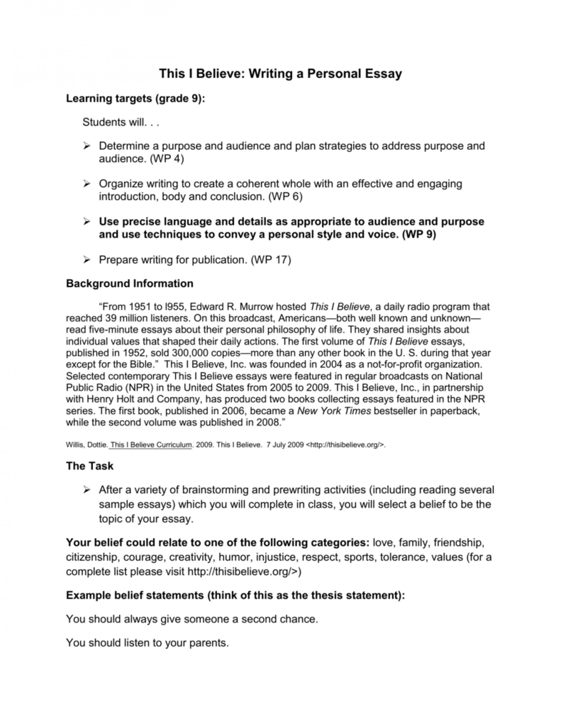 002 This I Believe Essay Examples Example 006750112 1 Stupendous Personal College 1920