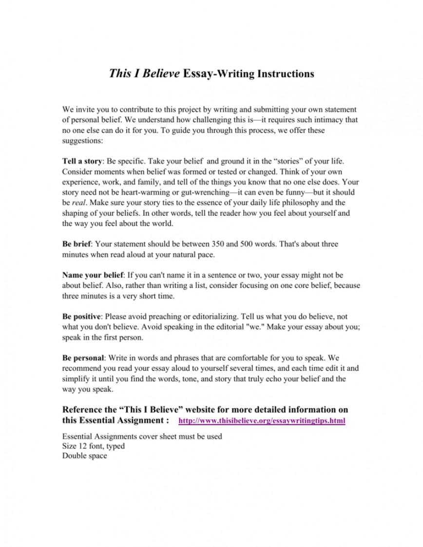 002 Thisibelieve Org Essays Essay Example 008807219 1 Imposing This I Believe.org/essay Thisibelieve.org Guidelines
