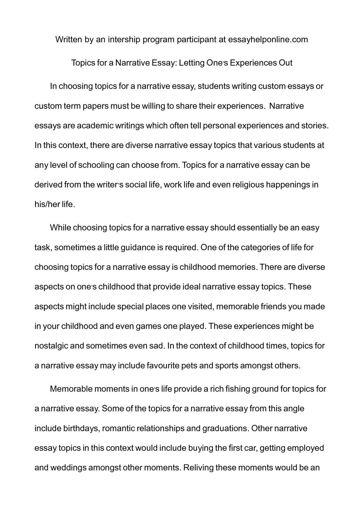 002 Topics For Narrative Essay Example Imposing A Essays College Students 3 Full