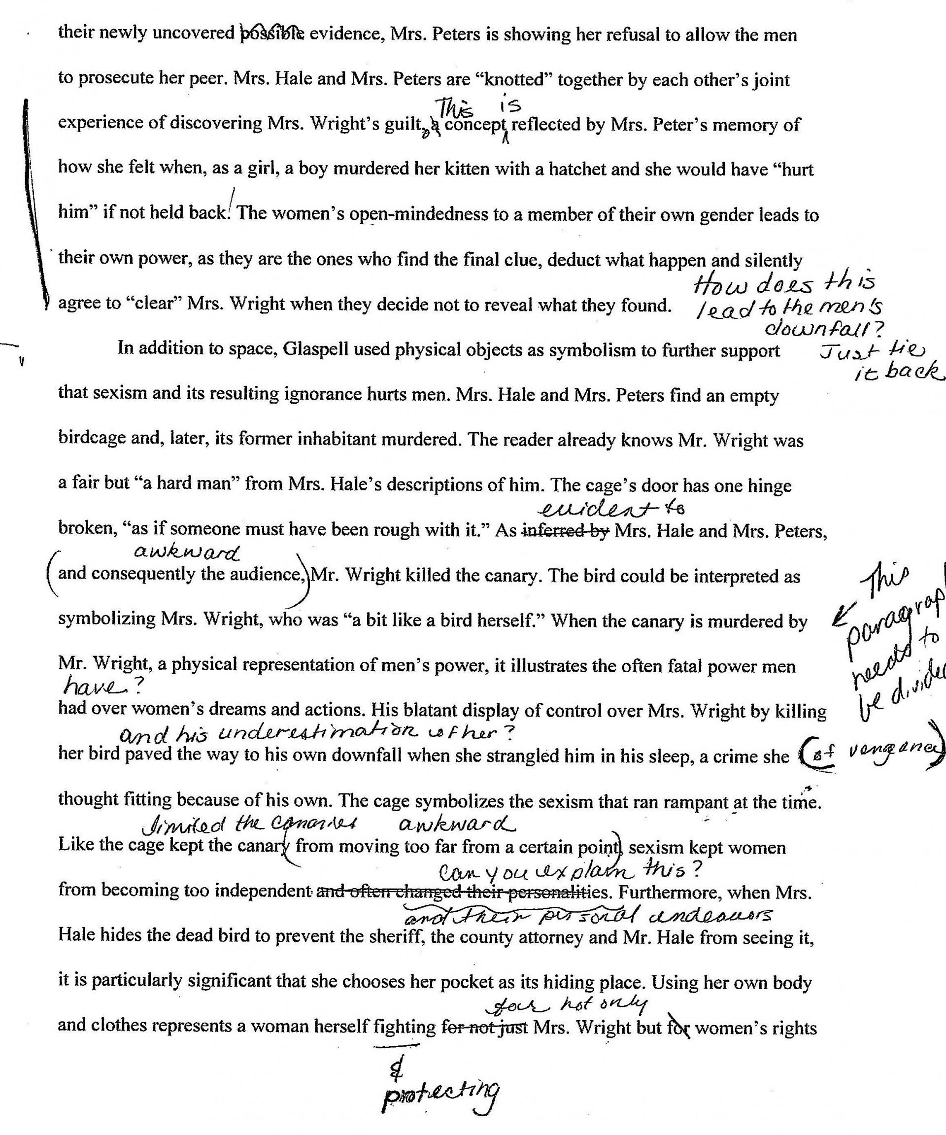 002 Trifles Essay Example Formidable Questions Feminism Topics 1920