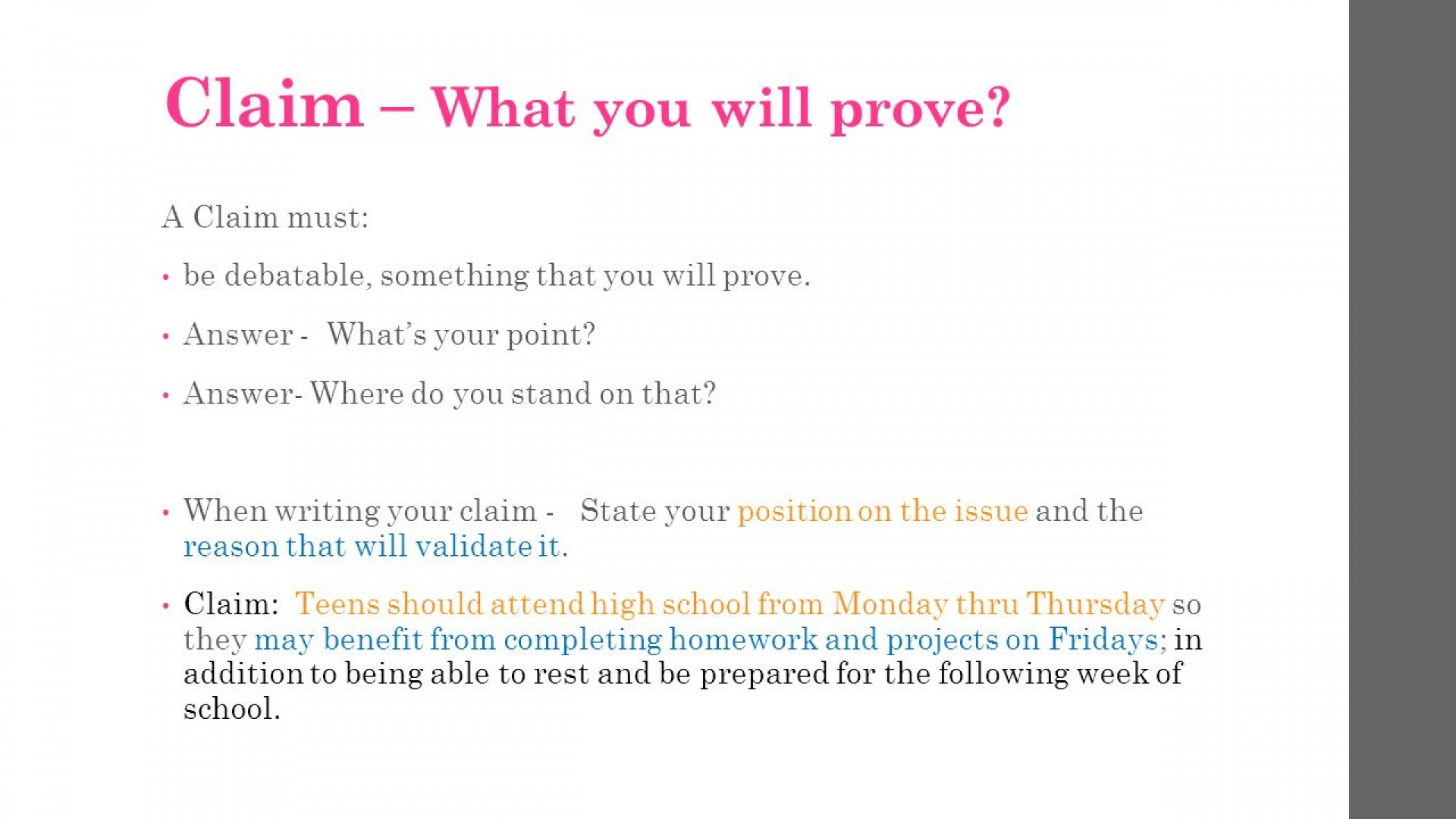 what is a claim in argumentative writing