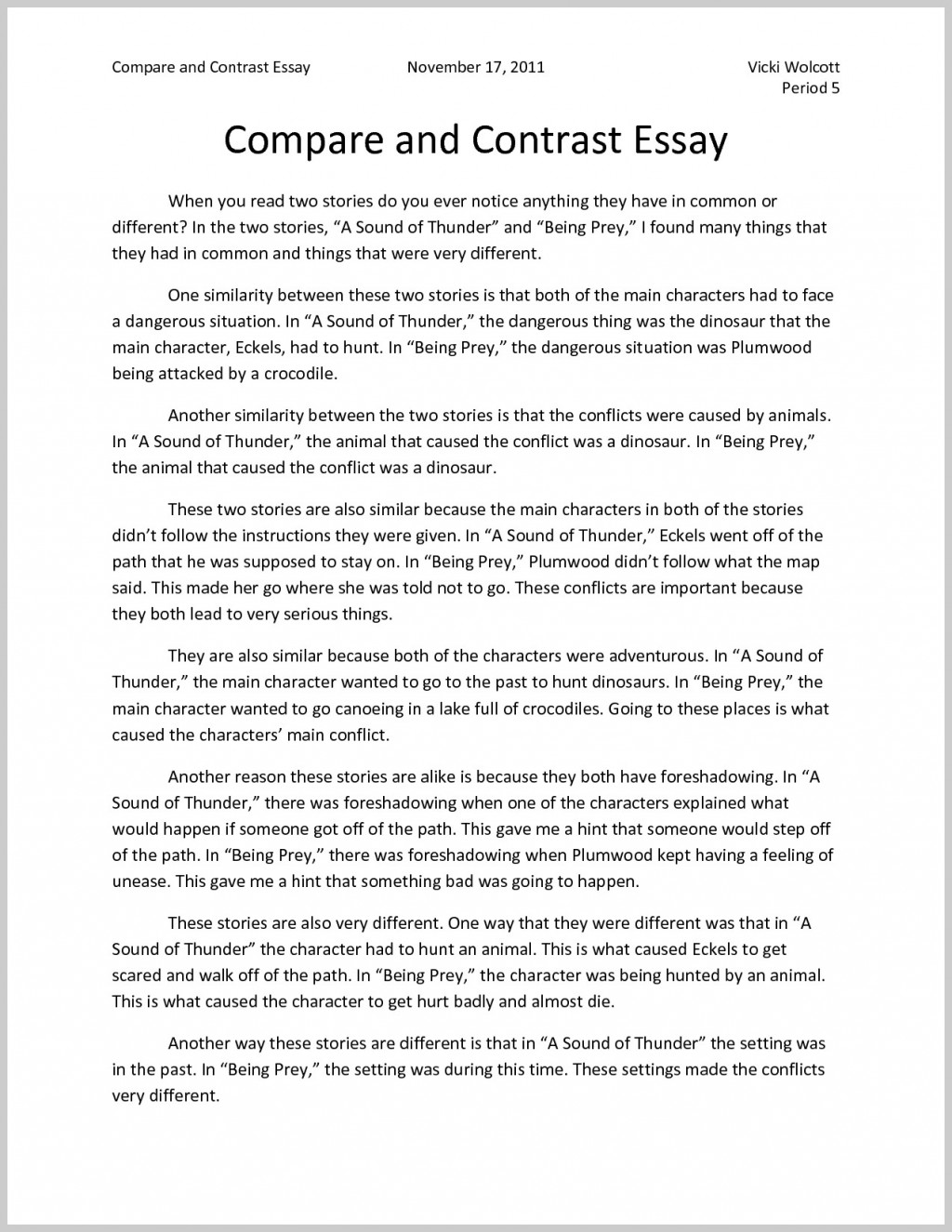 002 What Is Compare And Contrast Essay Example Striking A Does Comparison/contrast Look Like Should Provide Good Topic Sentence For Large