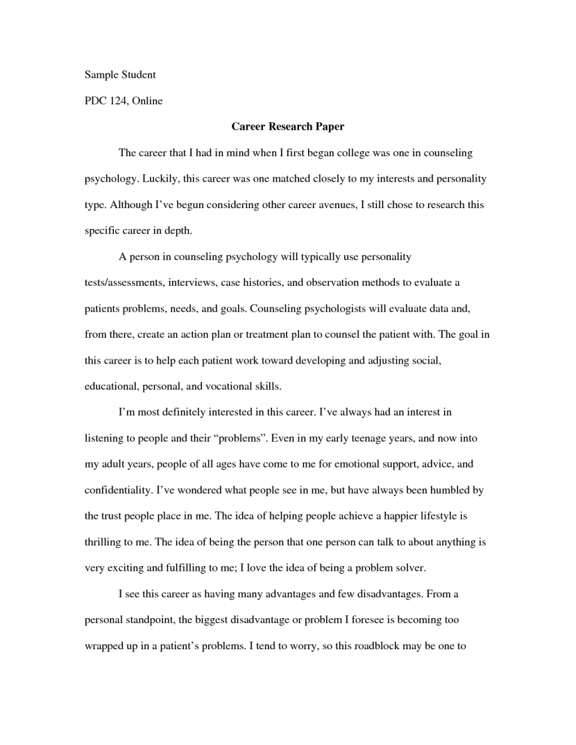 psychology career research paper