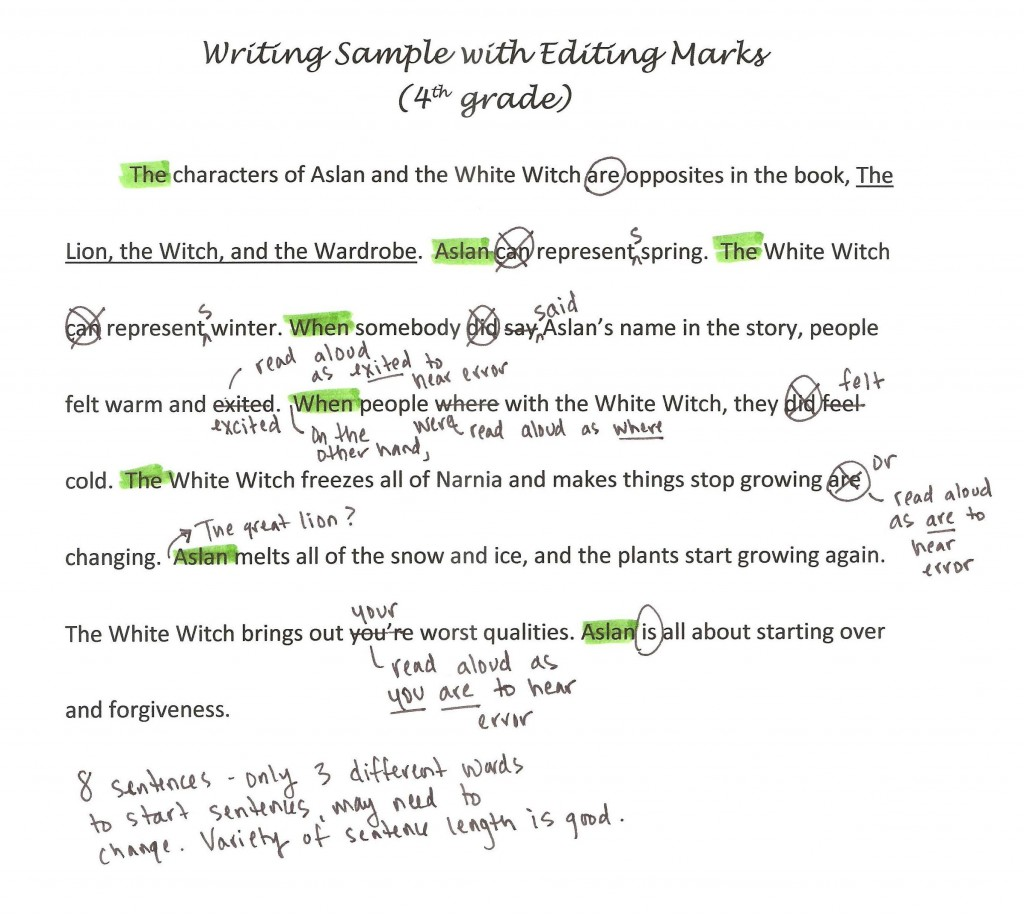 002 Writing Sample With Editing Marks1 Free Essay Checker For Grammar Incredible Large